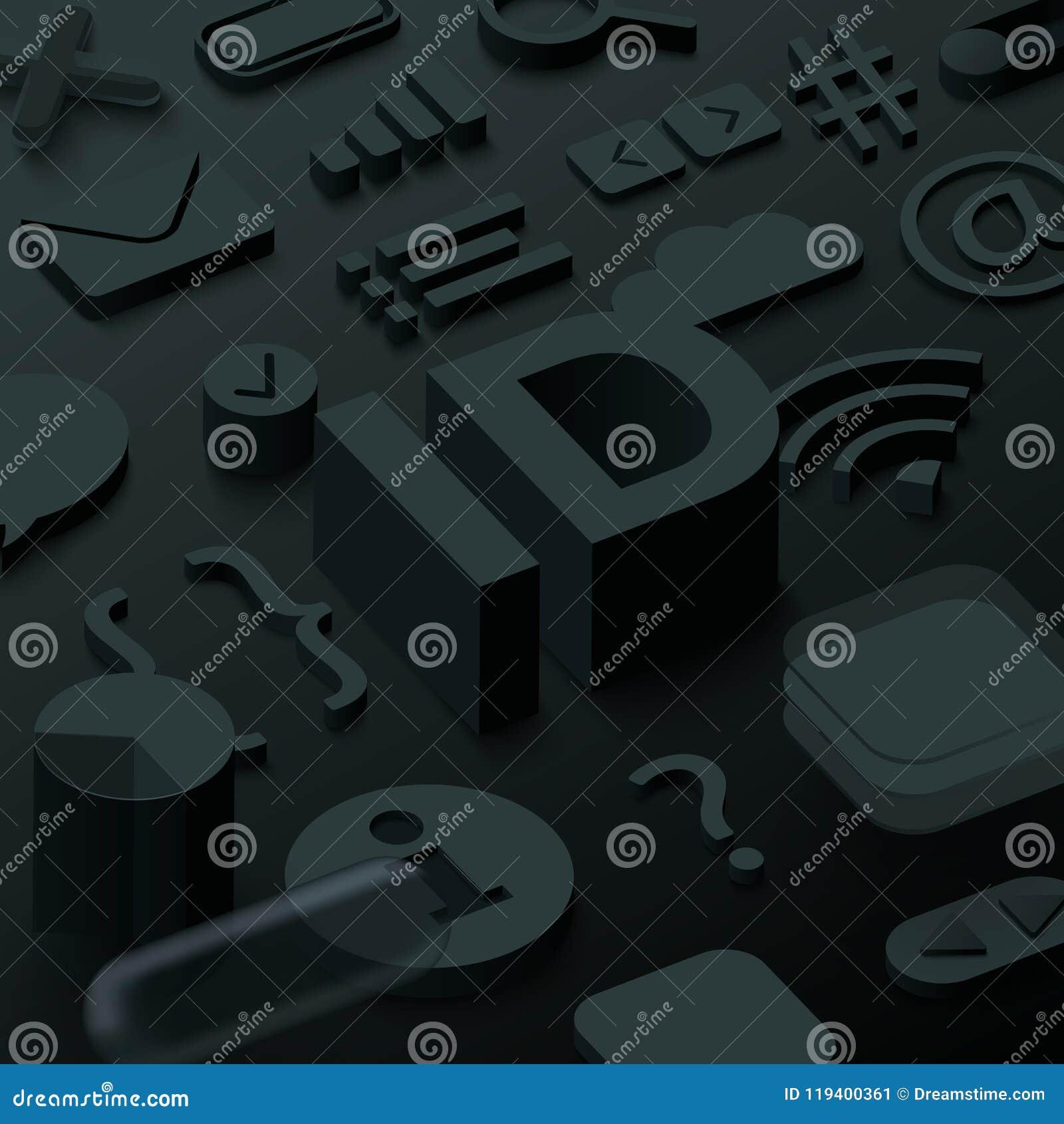 Fond noir de l identification 3d avec des symboles de Web