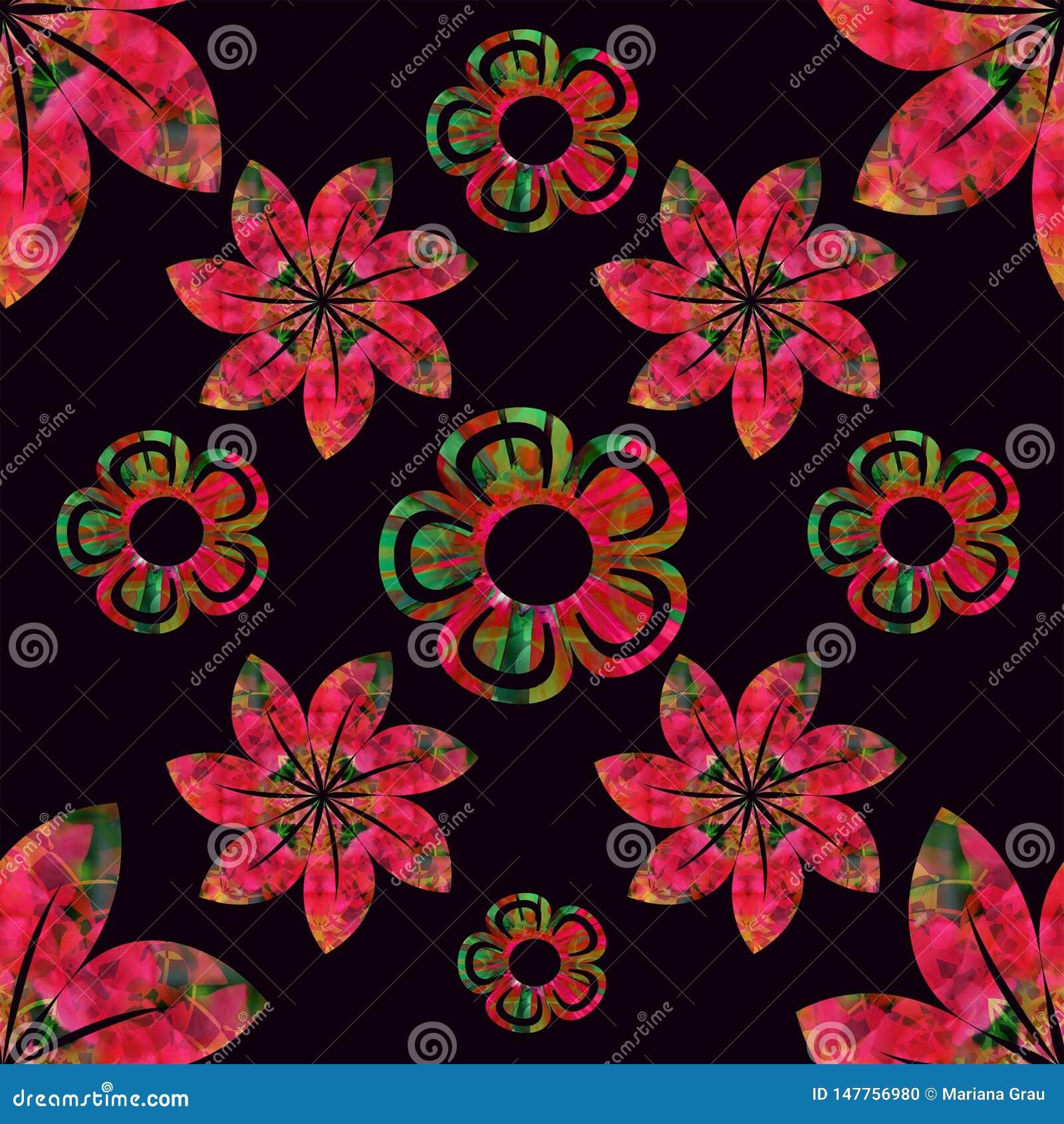 Fond noir de modèle de vecteur, rouge et vert, simple sans couture floral