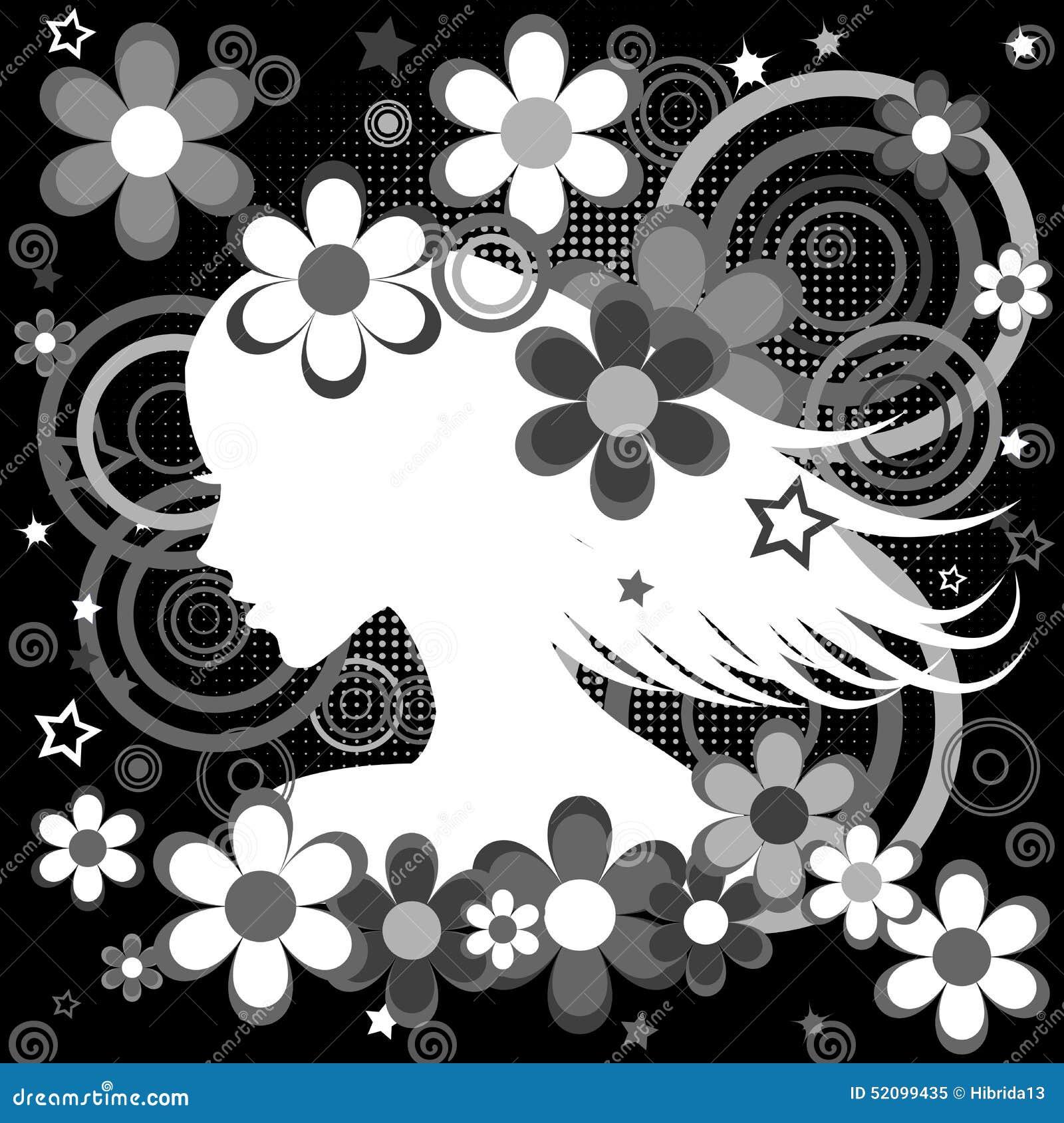 fond noir et blanc abstrait avec le profil de femme fleurs a illustration de vecteur. Black Bedroom Furniture Sets. Home Design Ideas