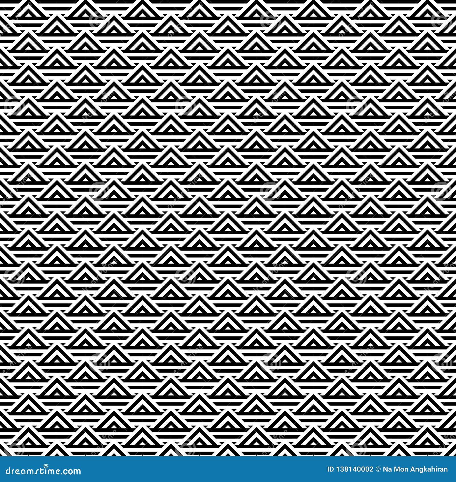 Fond noir et blanc abstrait de modèle de triangle