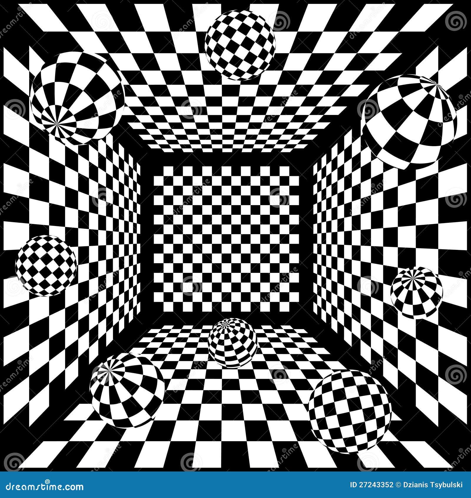 Fond noir et blanc abstrait des échecs 3d avec