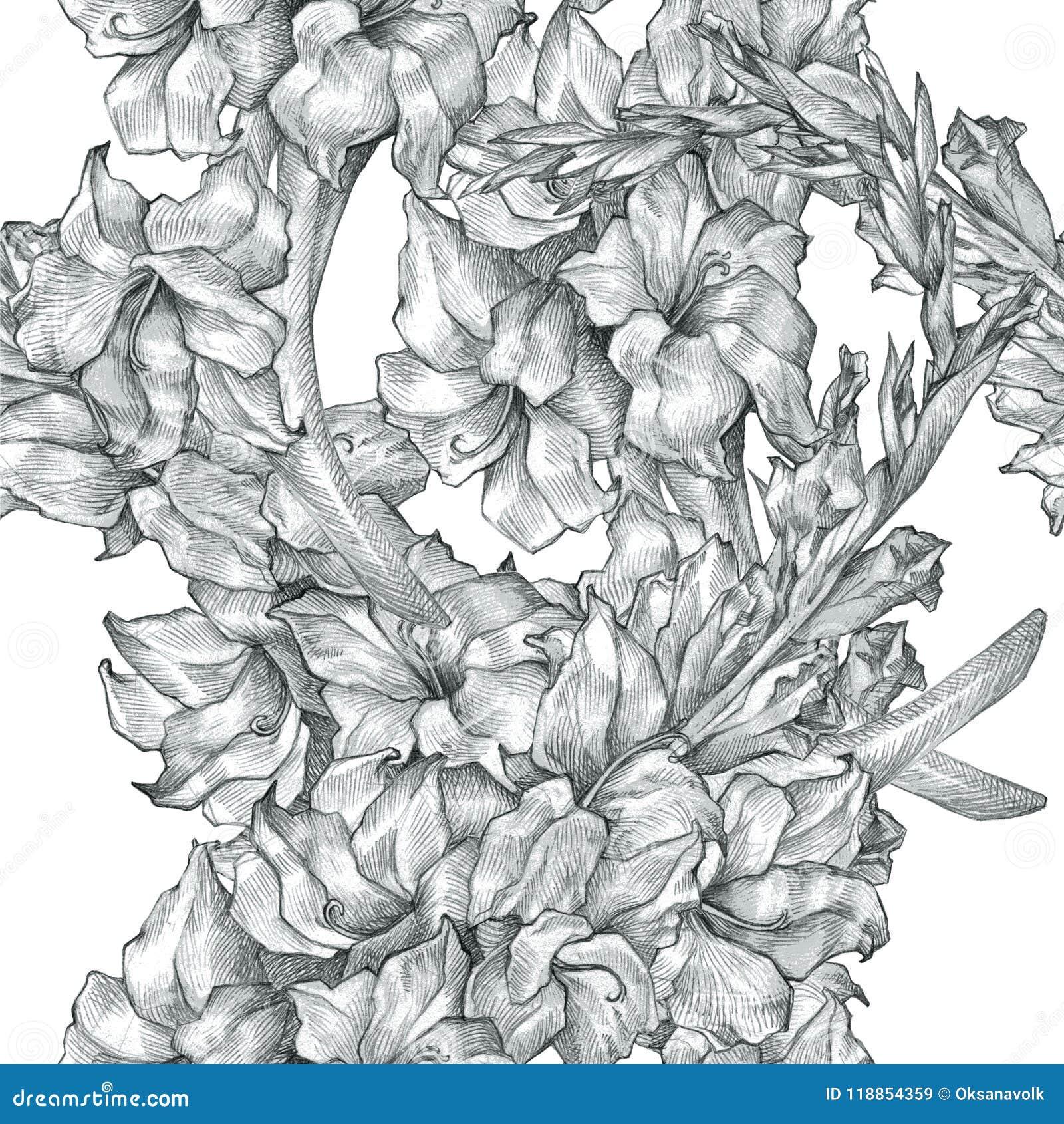 Fond Noir Et Blanc De Texture De Fleur De Dessin Au Crayon