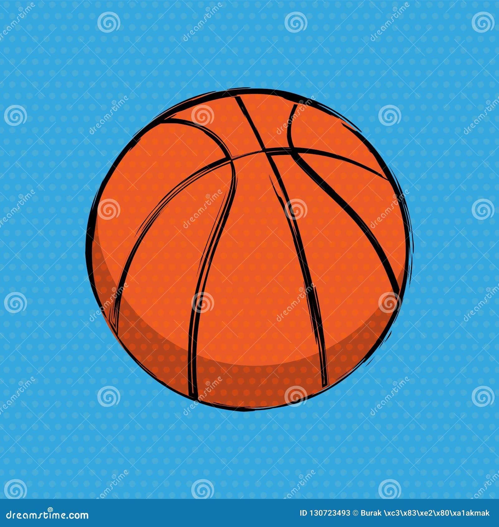 Fond orange de bandes dessinées de basket-ball