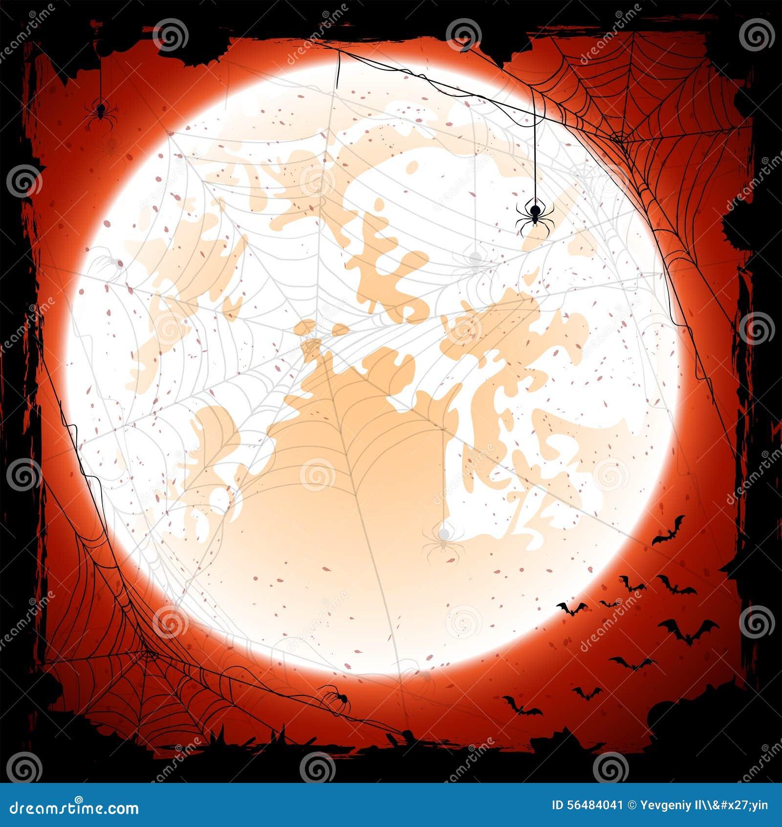 Fond orange de Halloween avec la lune