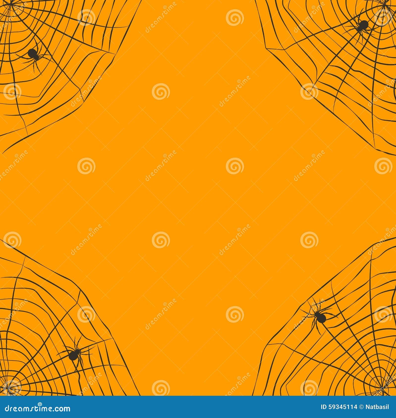 Fond orange de halloween avec la toile d 39 araign e illustration de vecteur image 59345114 - Toile d araignee en papier ...