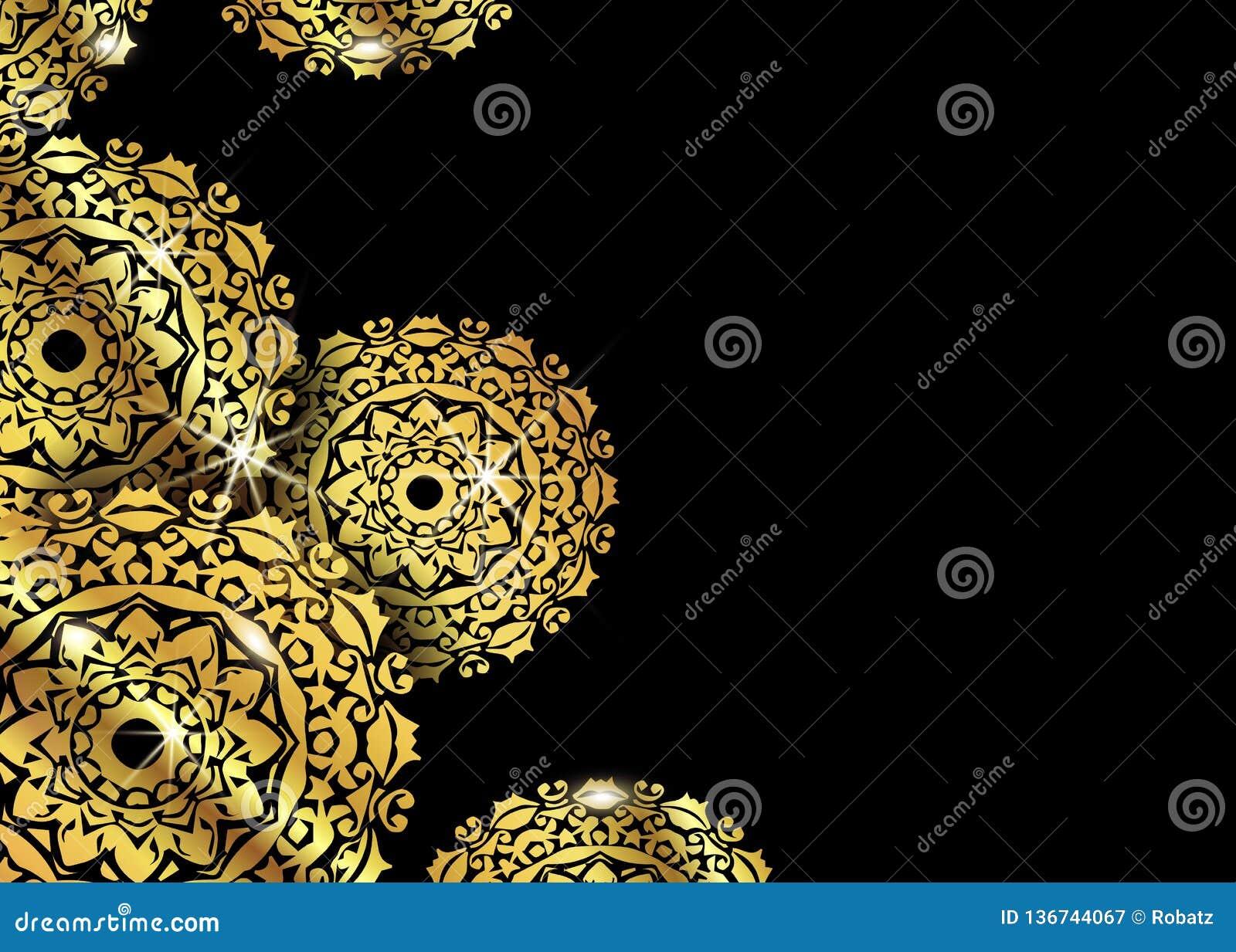 Fond ornemental de luxe de conception de mandala dans la couleur d or Calibres de conception de vecteur Carte de visite professio