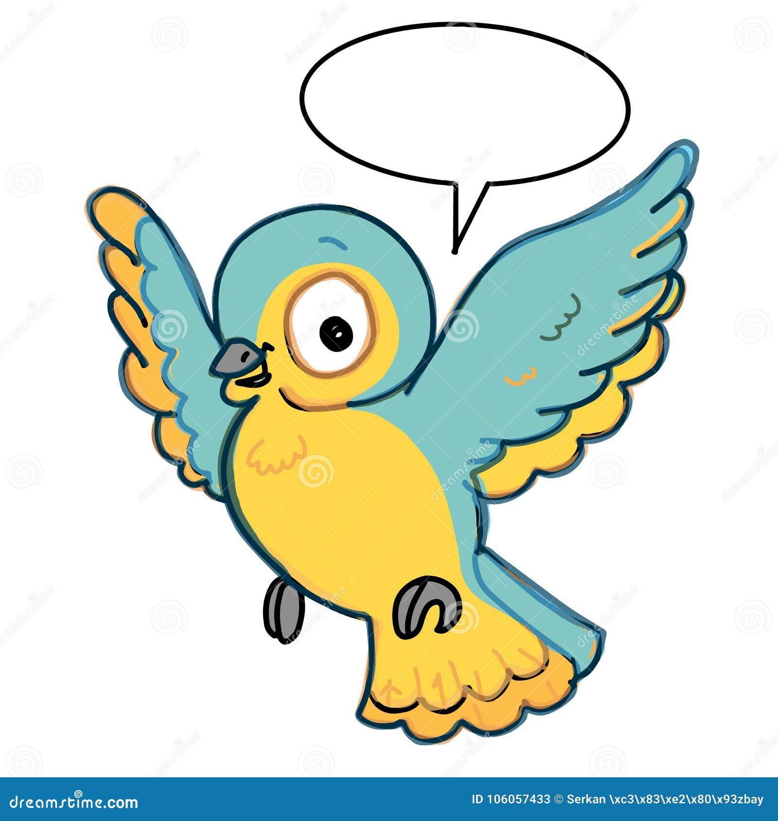 fond parlant bleu et jaune d 39 oiseau de vol d 39 illustration de couleur de dessin mignonne et de. Black Bedroom Furniture Sets. Home Design Ideas