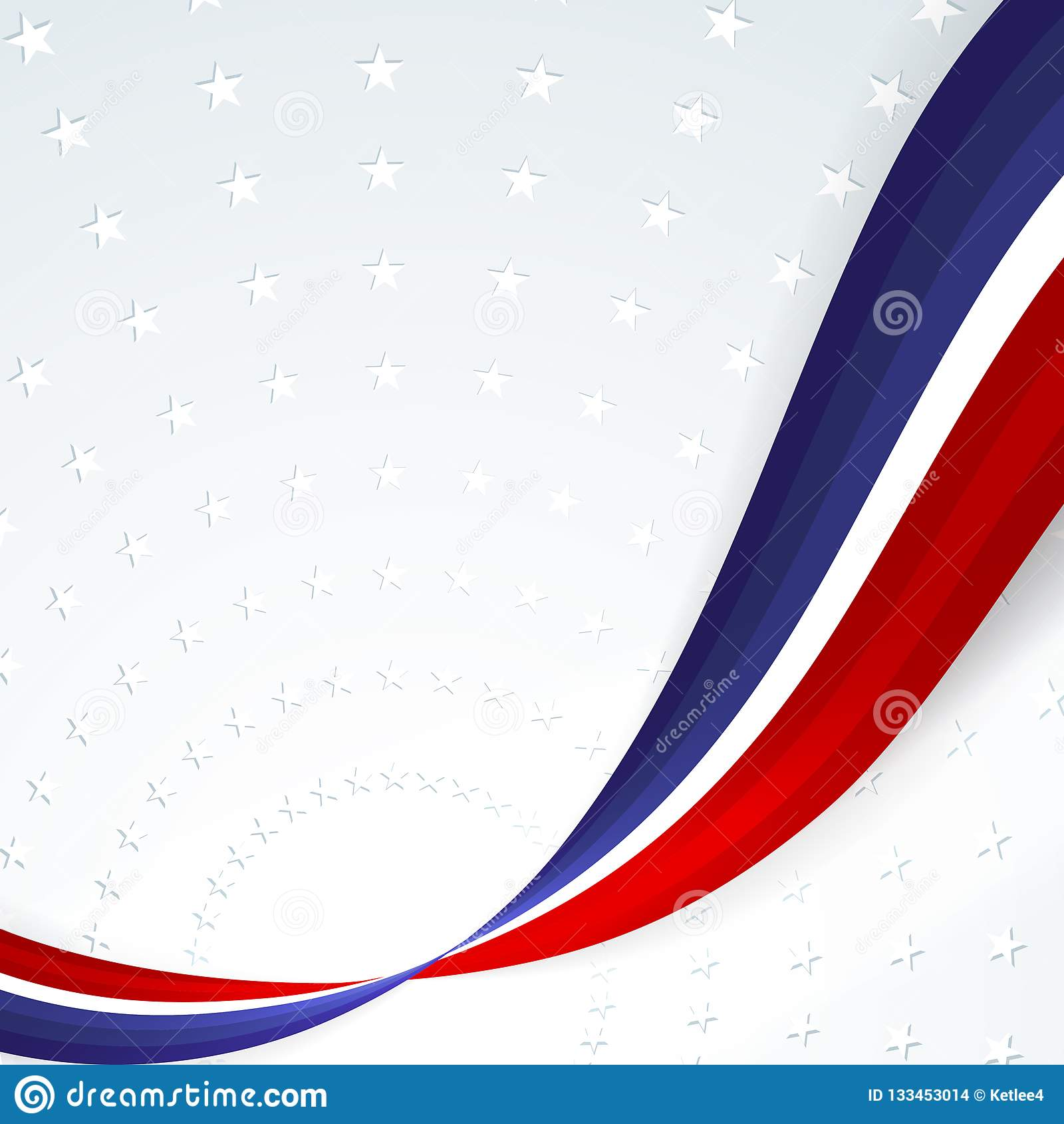 Fond patriotique de couleurs du drapeau national des lignes onduleuses abstraites douces des Etats-Unis sur le fond du modèle des