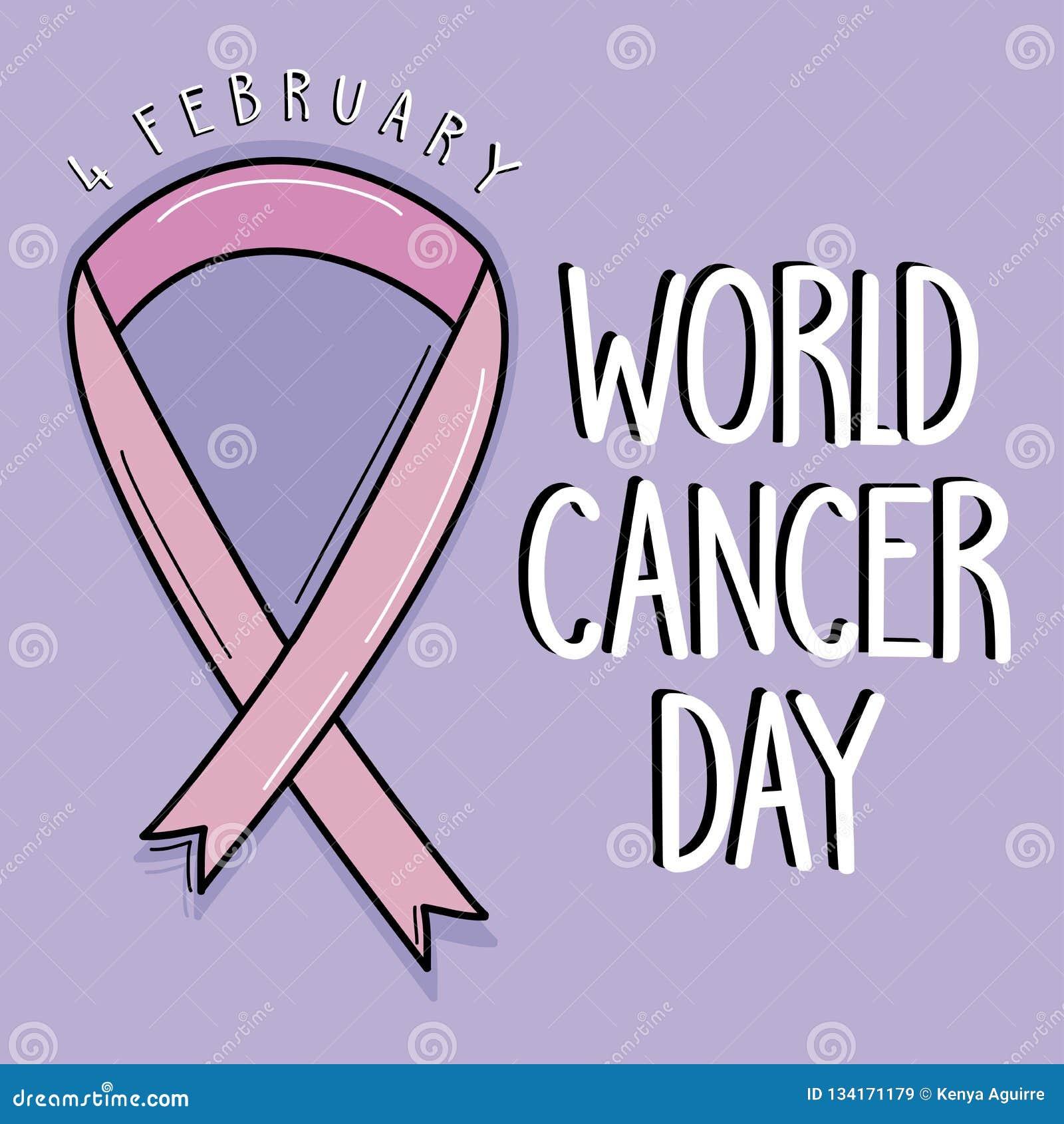 Fond pourpre de jour de cancer du monde avec le ruban