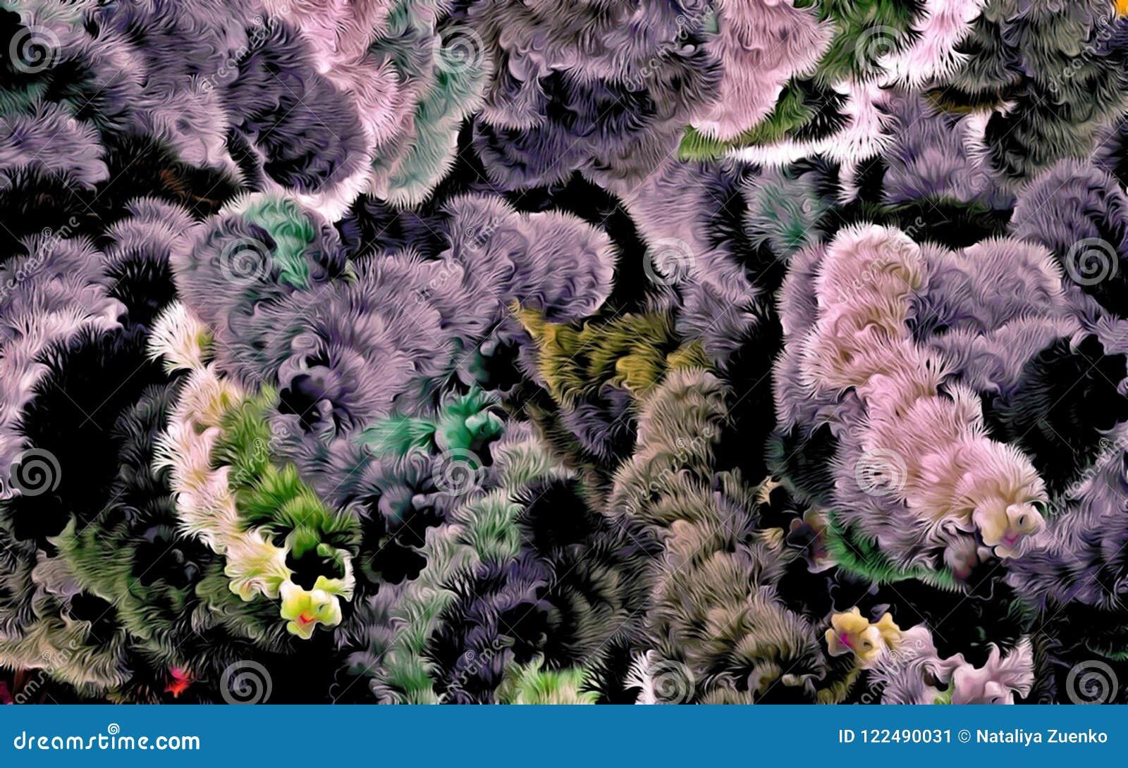 Fond psychédélique abstrait chaotiquement de disposé coloré entrelacé, Web des lignes minces