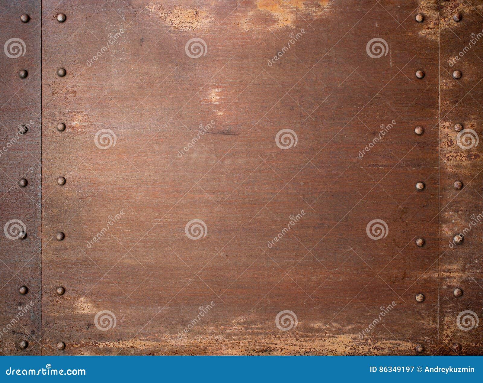 Fond punk de vapeur rouillée en métal avec des rivets