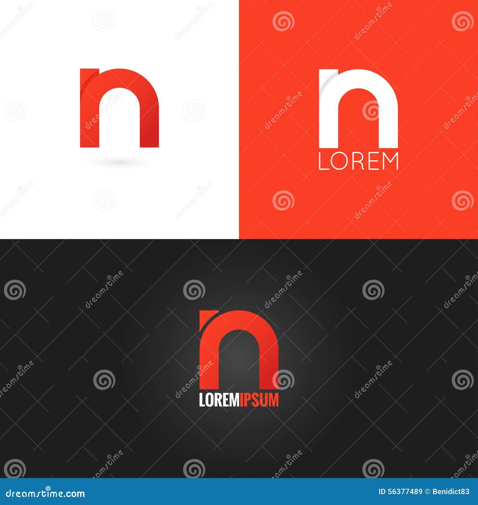 Fond réglé d icône de conception de logo de la lettre N