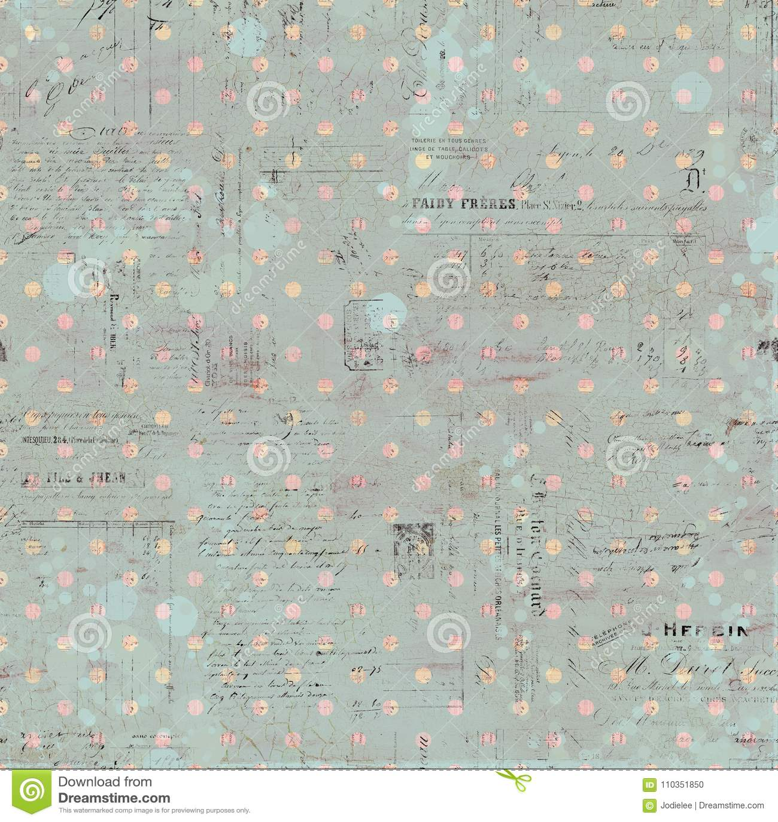 Fond repéré sale affligé chic minable de manuscrit antique vert de vintage