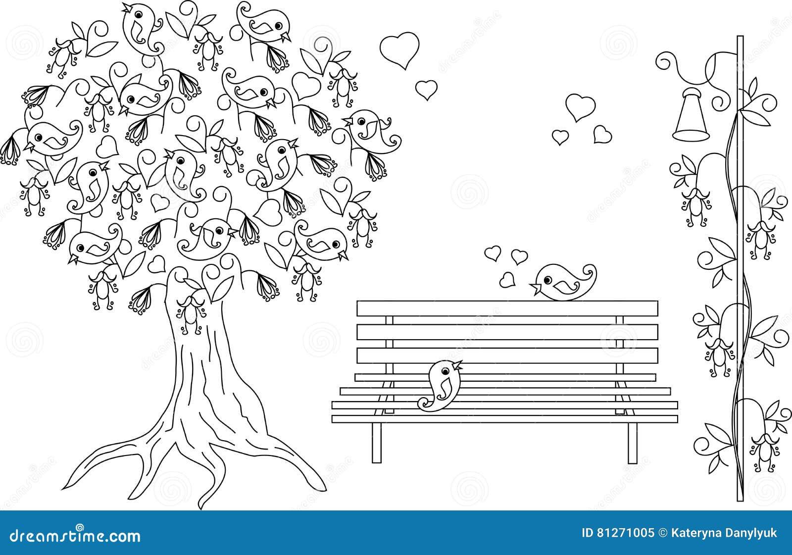 Coloriage Oiseau Sur Arbre.Fond Romantique Avec L Arbre De Floraison Oiseaux Affectueux Banc