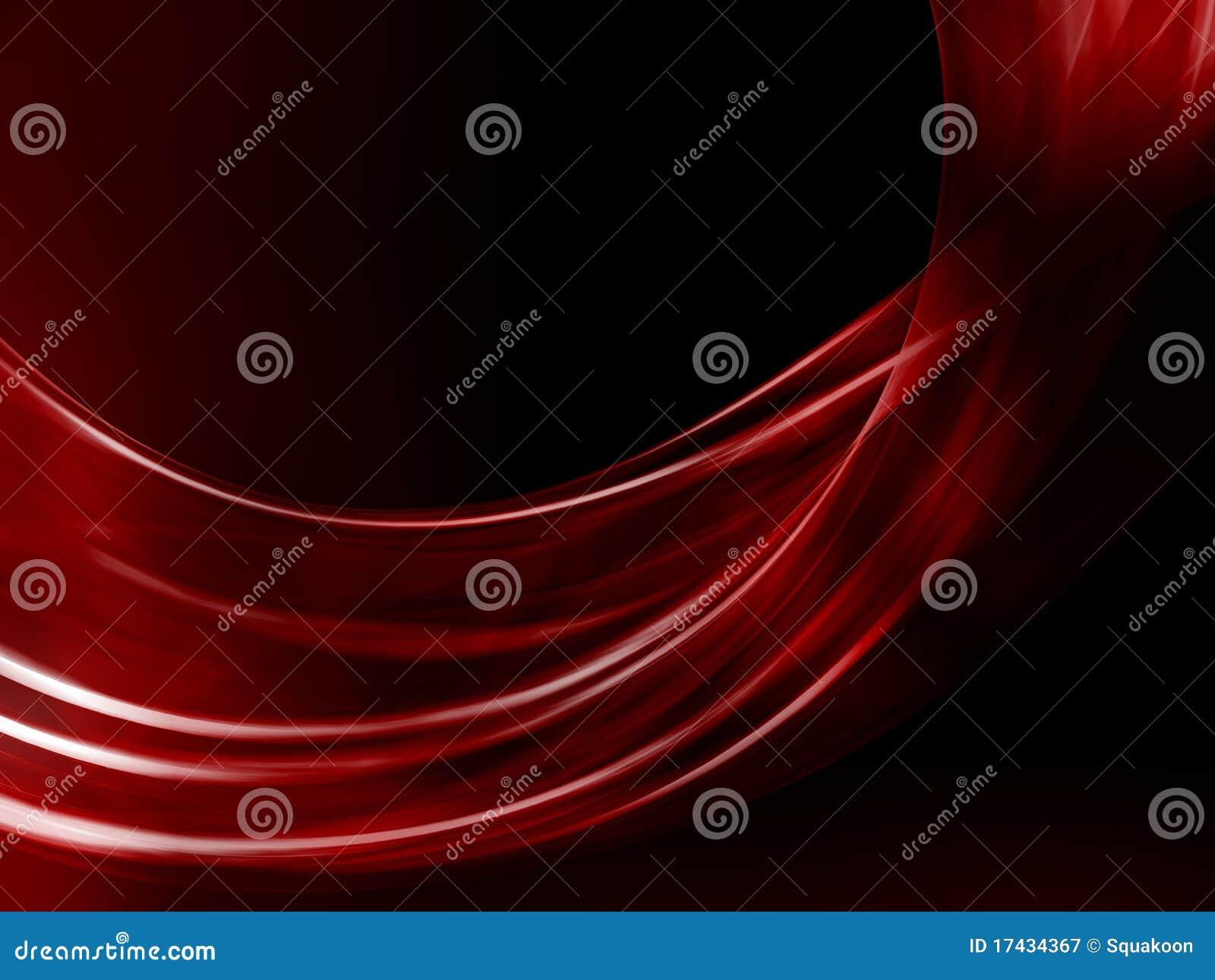 Onde rouge abstraite sur le fond noir