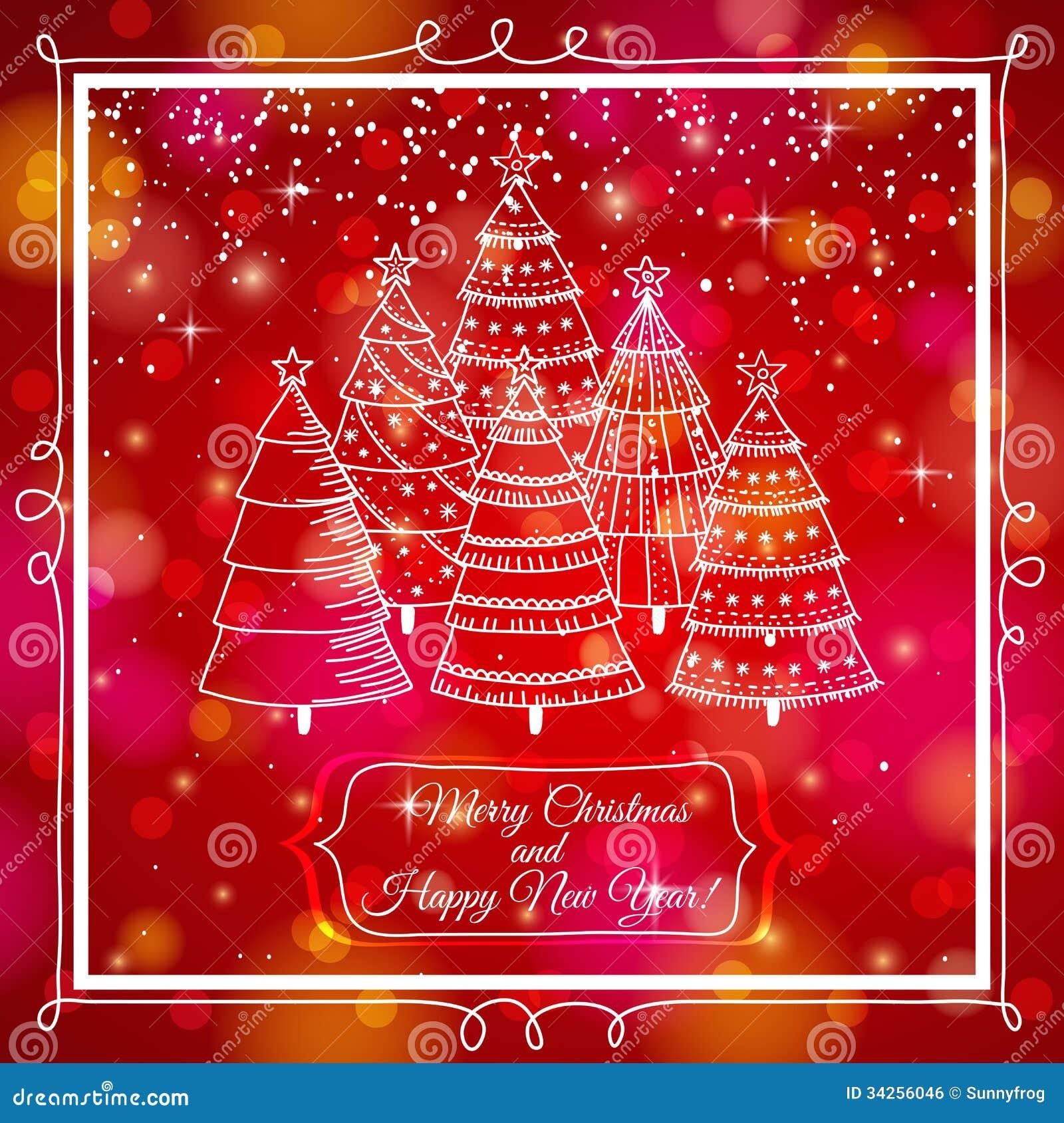Fond rouge avec la forêt d arbres de Noël, vec