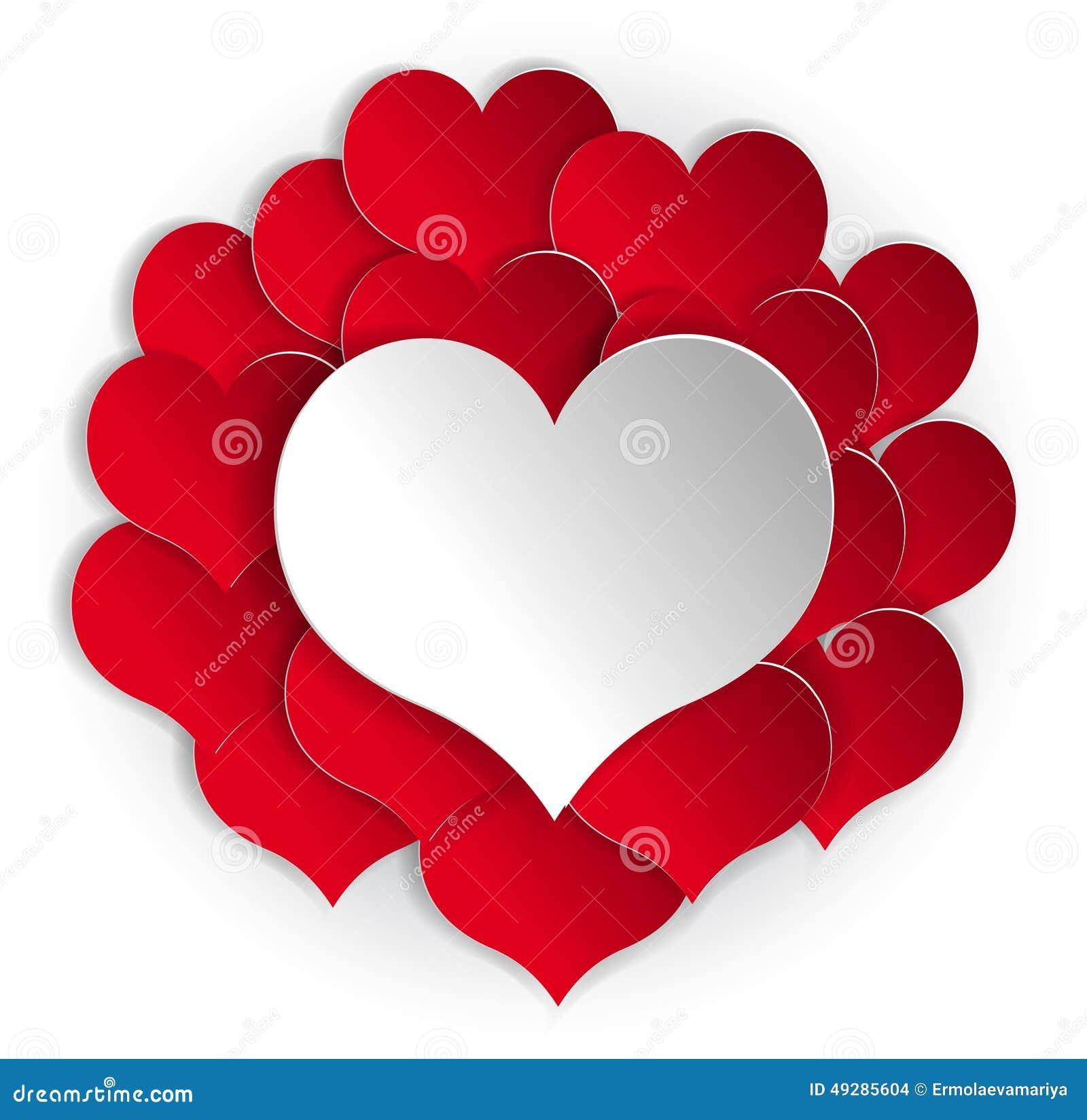 fond rouge de papier de coeurs avec le coeur blanc illustration de vecteur illustration du. Black Bedroom Furniture Sets. Home Design Ideas