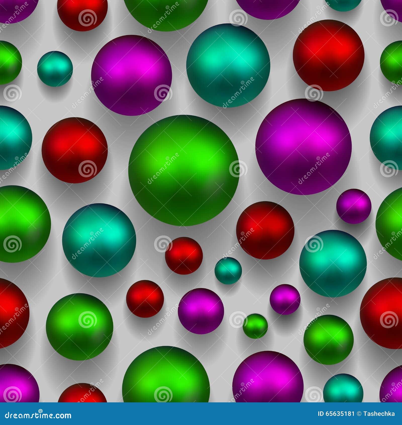 Fond sans couture coloré des boules 3d Couleur verte, rose, pourpre