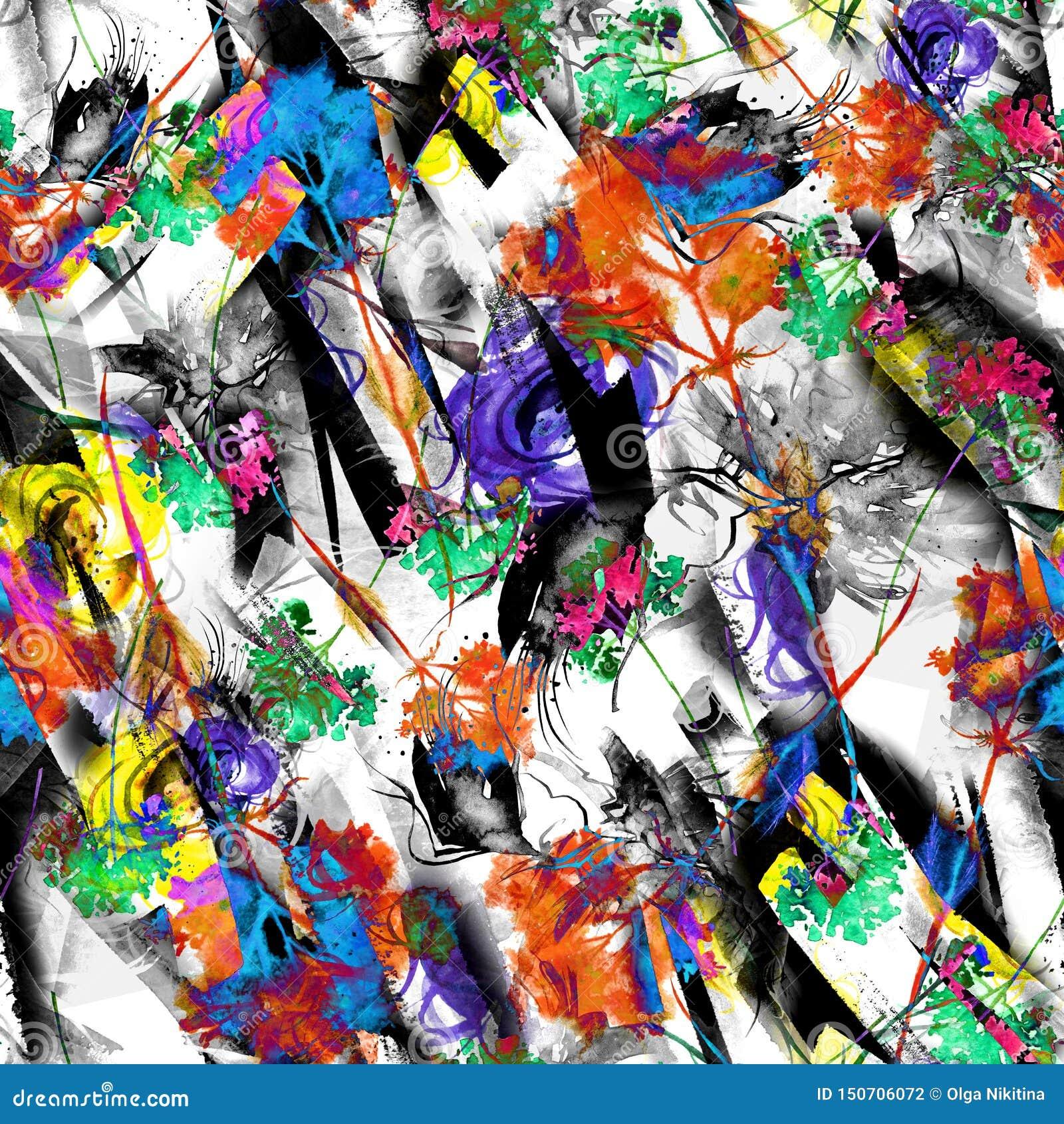 Fond sans couture d abrégé sur aquarelle, carte, modèle, tache, éclaboussure de peinture, tache, divorce Silhouette abstraite de