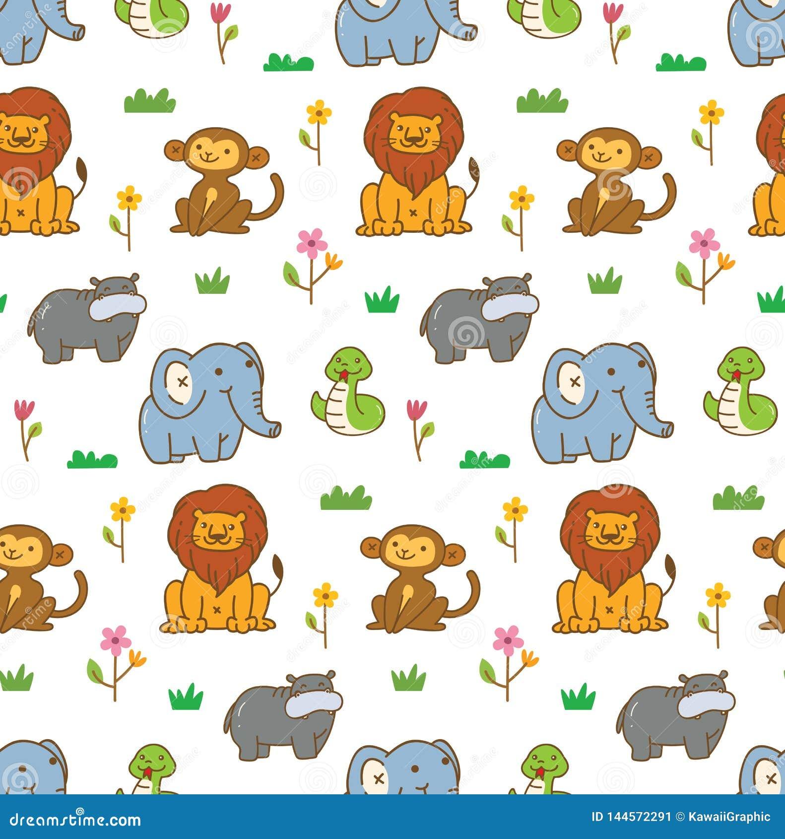 Fond sans couture d animaux mignons avec le lion, le singe, le serpent, etc.