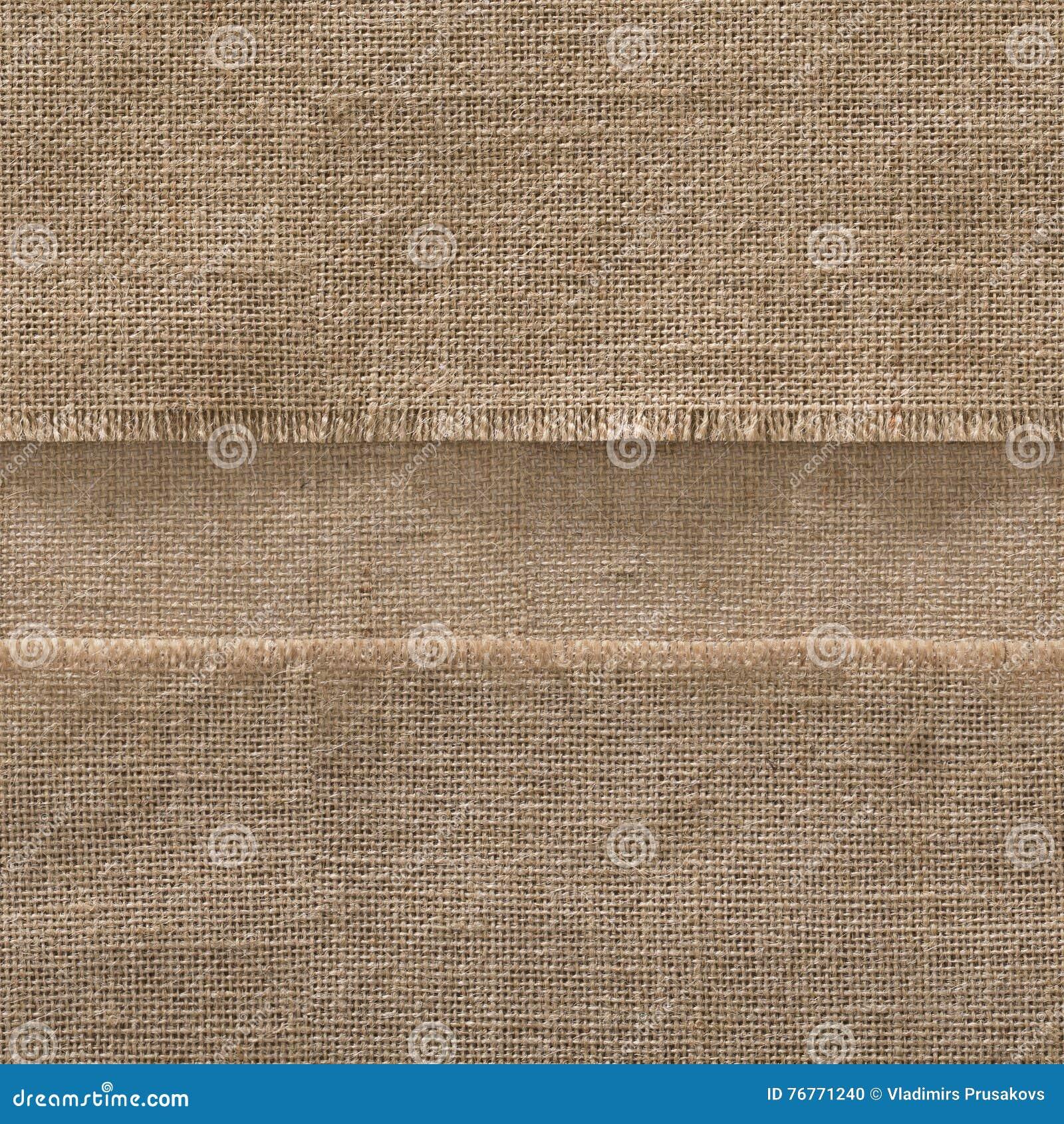 Fond sans couture de bord de tissu de toile de jute, cadre de tissu de sac à bande