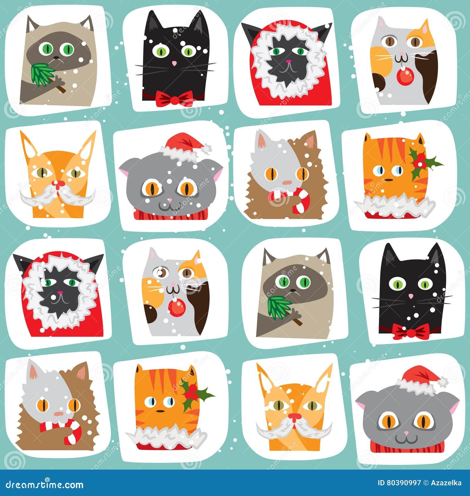 Fond sans couture de chats de Noël Modèle animal mignon de tuile Nouvelle année enveloppant la texture de papper