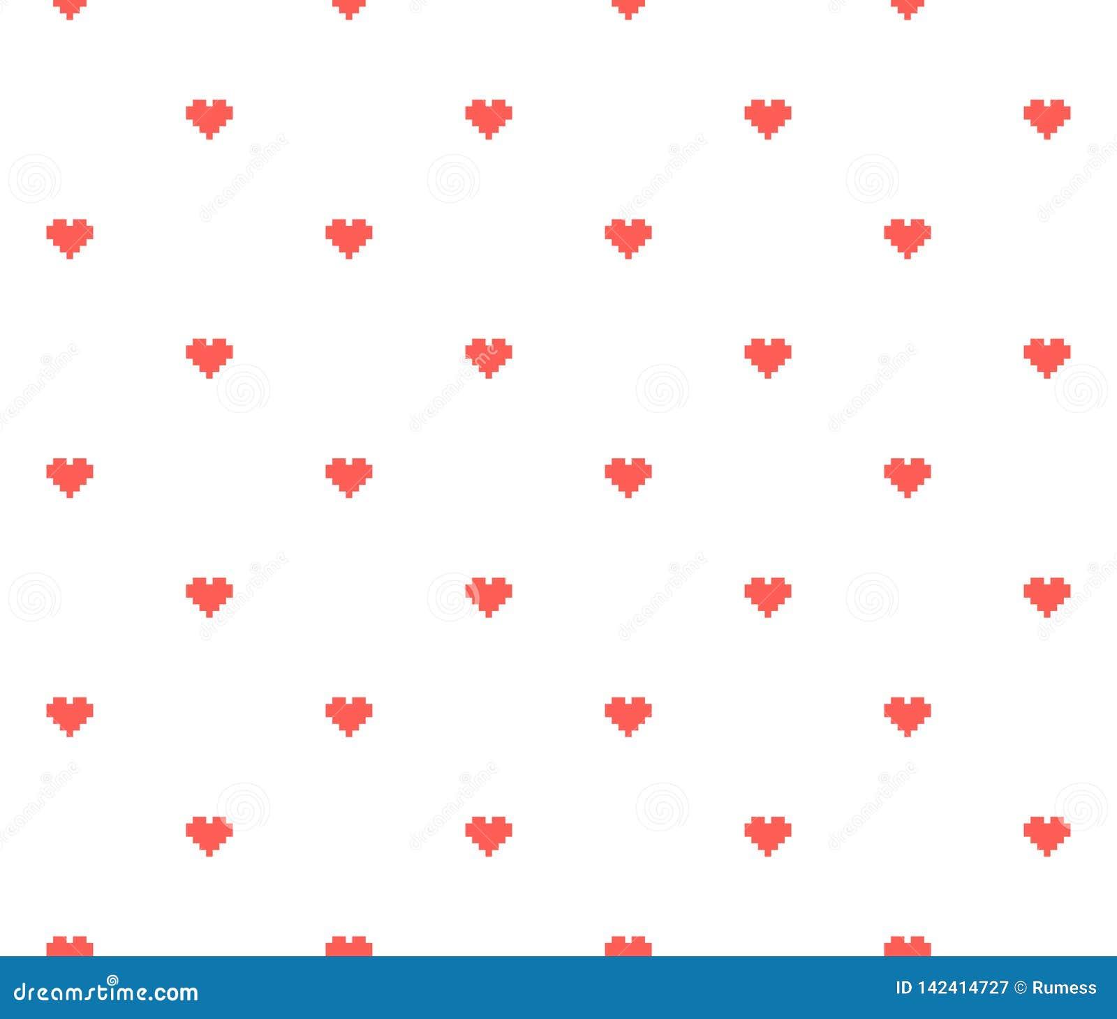 Fond sans couture de coeur de pixel Illustration de vecteur