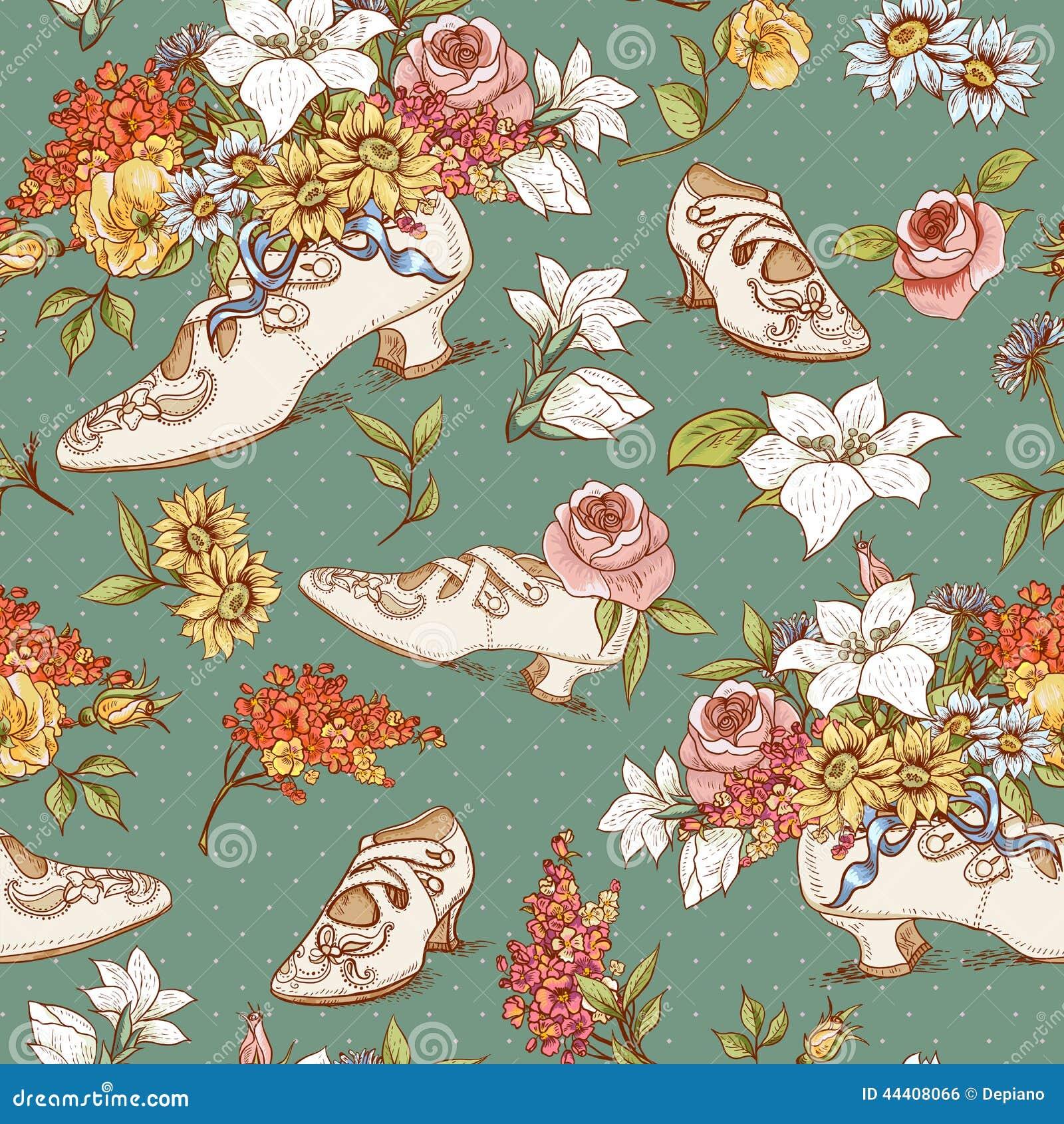 Fond sans couture de fleurs et de chaussures de vintage