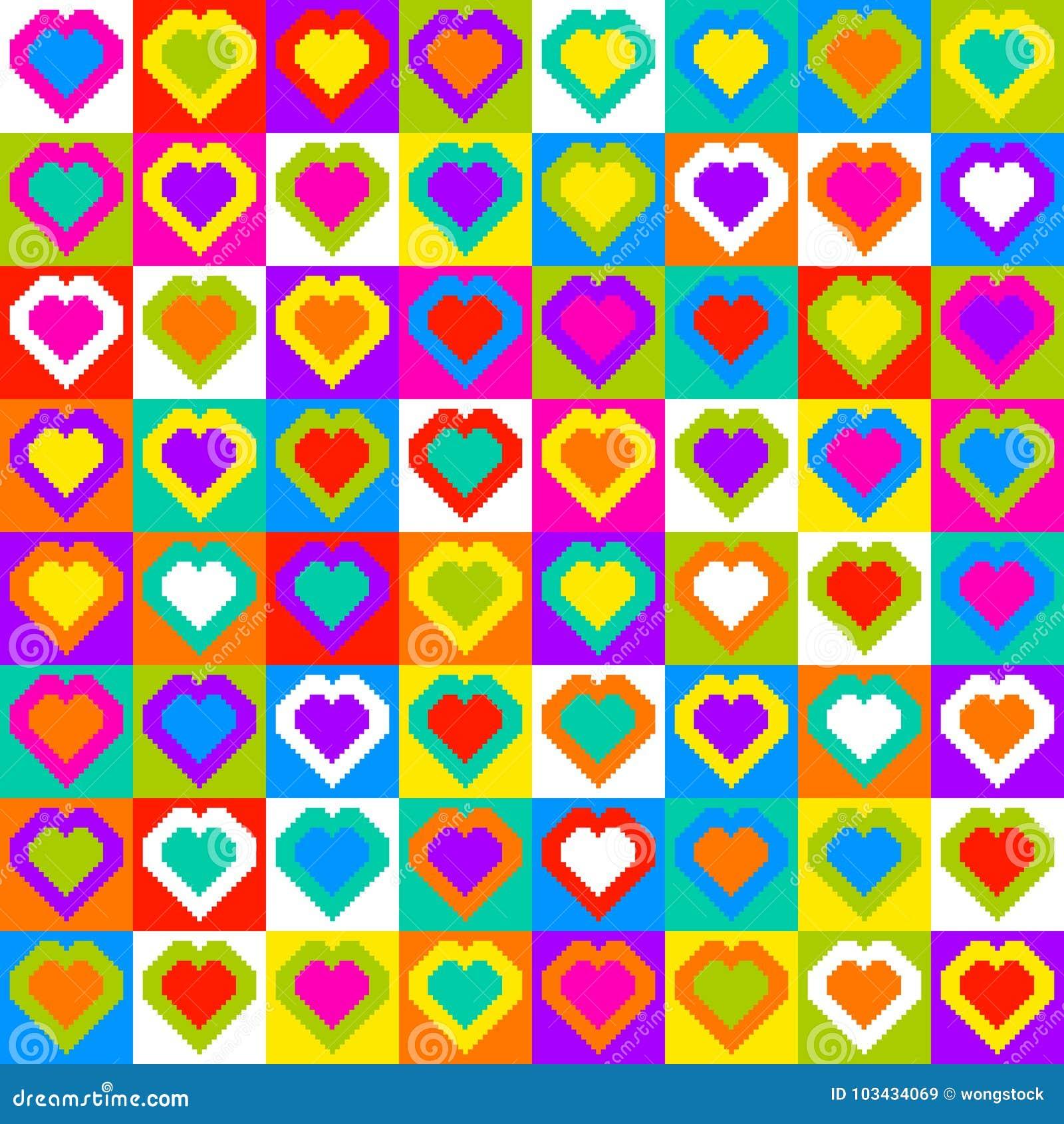 Fond Sans Couture De Modèle De Coeur De Pixel Illustration