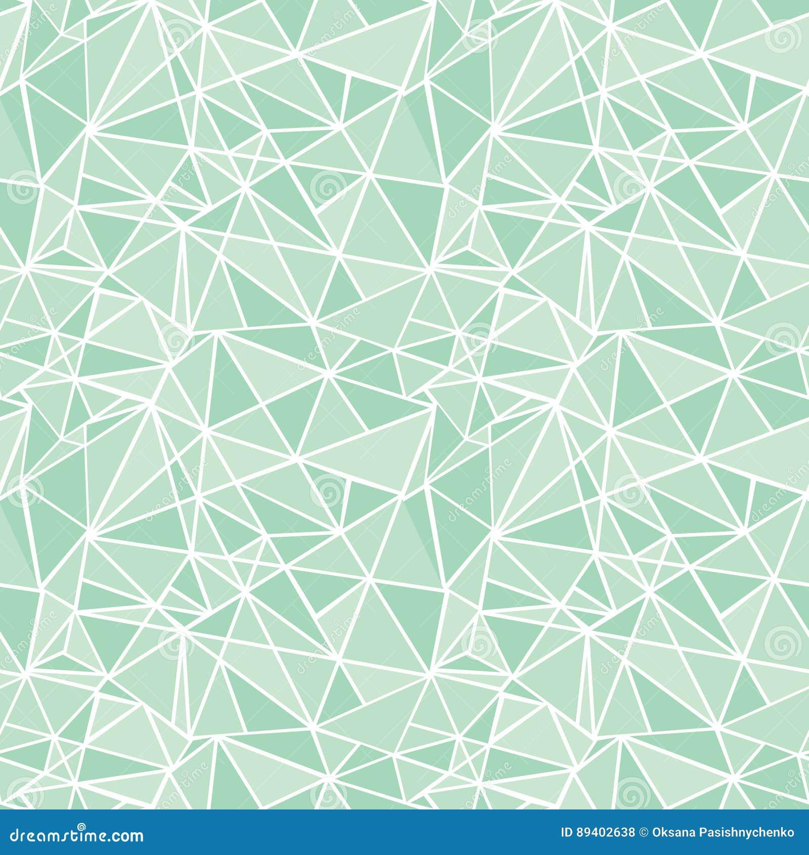 Fond sans couture de modèle de mosaïque de vecteur de répétition géométrique verte en bon état de triangles Peut être employé pou