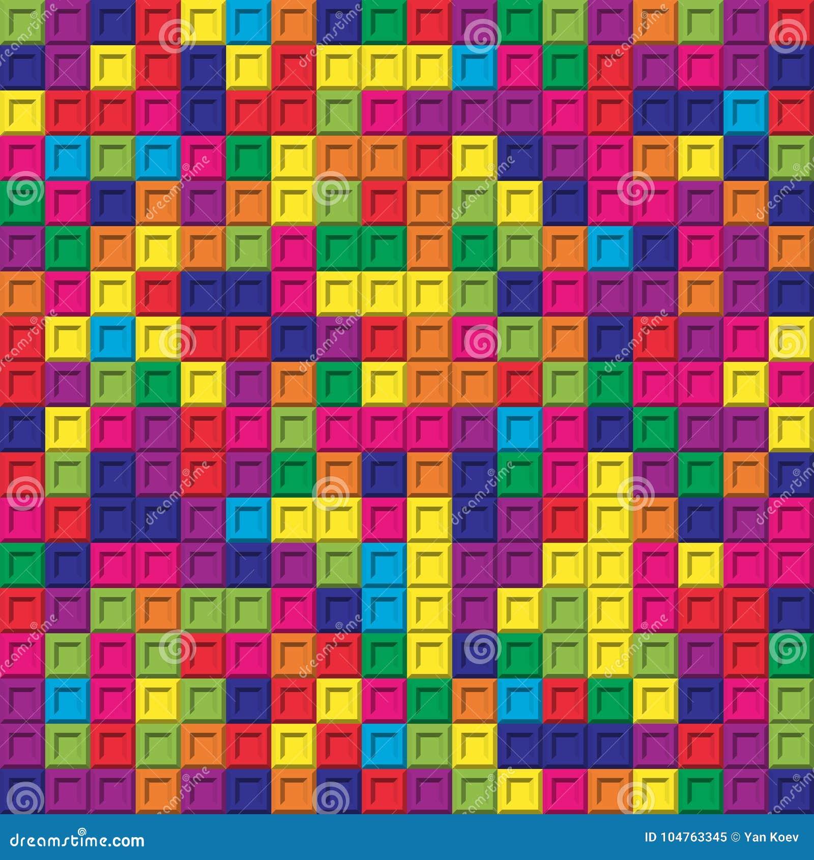 Fond sans couture de modèle de mosaïque carrée colorée de briques
