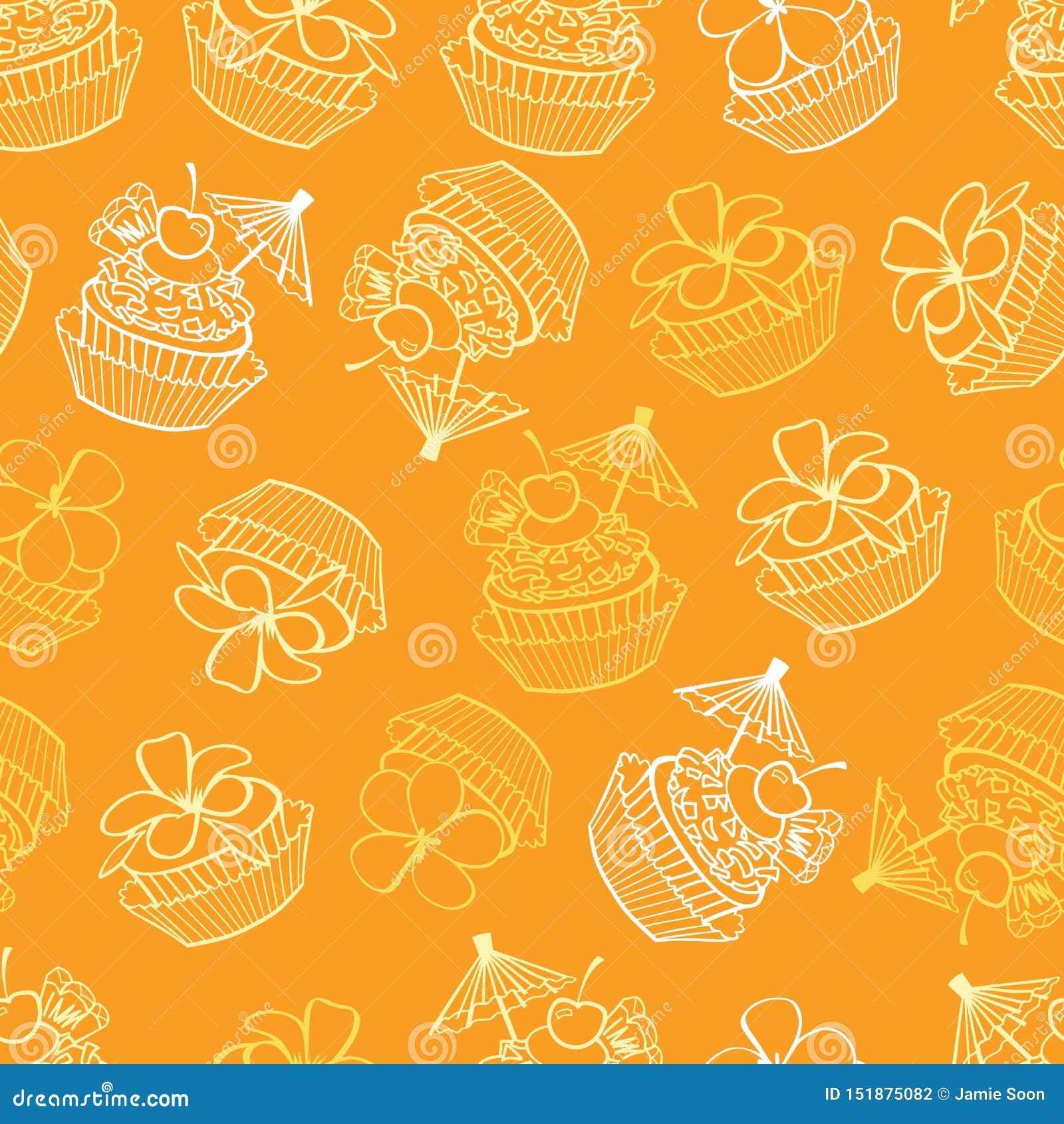 Fond sans couture de modèle de vecteur de petits gâteaux tropicaux jaunes de fête d anniversaire Perfectionnez pour le tissu, scr