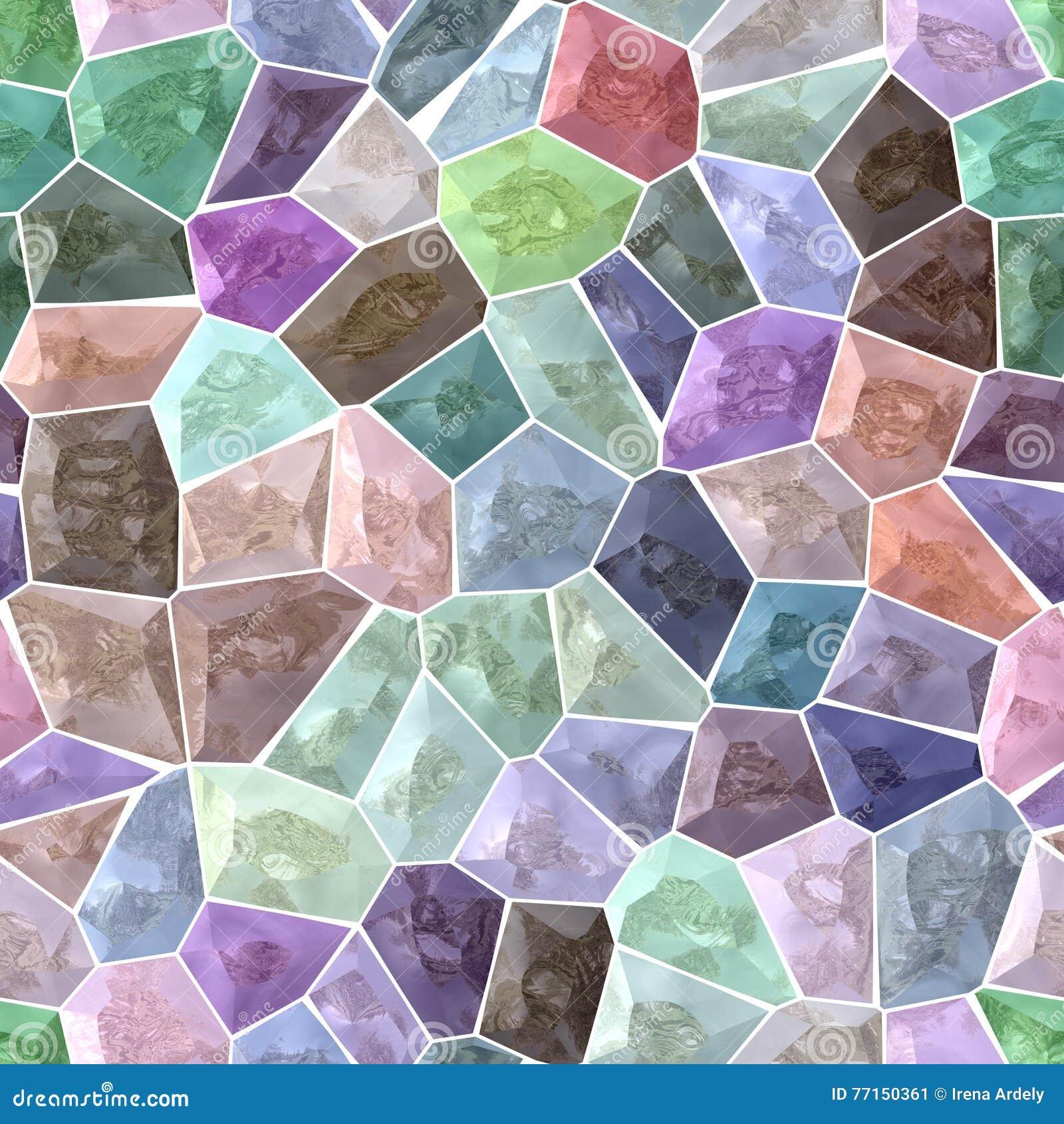 Fond sans couture de spectre de mosaïque pierreuse colorée en pastel de marbre avec le coulis blanc