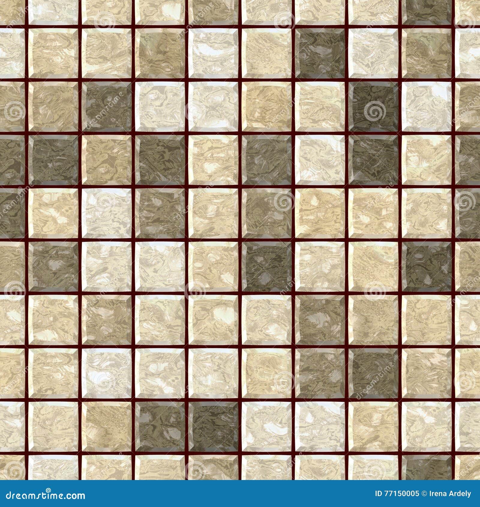 Fond sans couture de texture de mosaïque pierreuse de marbre beige naturelle avec le coulis de brun foncé - places régulières