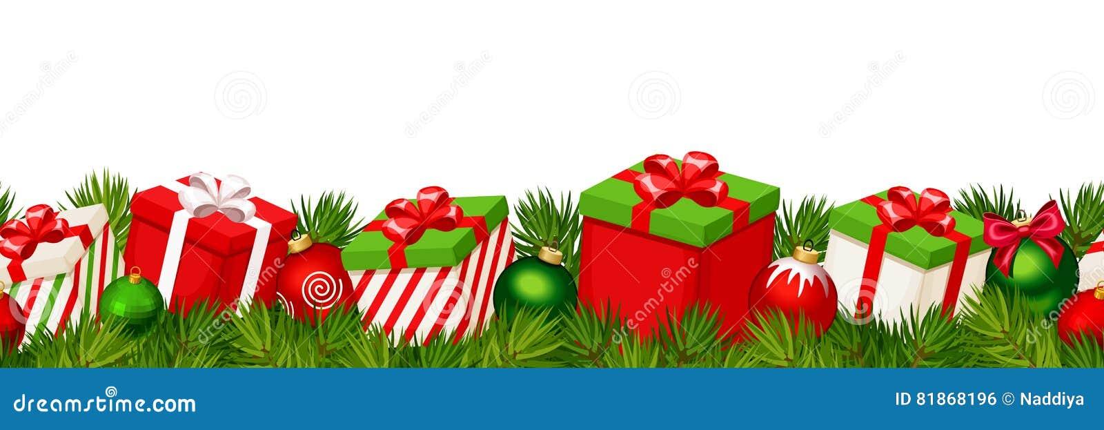 Fond sans couture horizontal de Noël avec les boîte-cadeau rouges et verts Illustration de vecteur