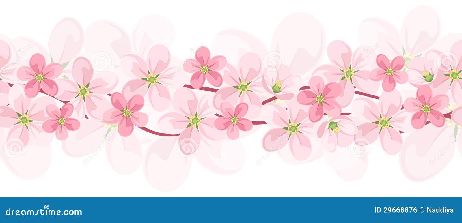 Fond sans joint horizontal avec les fleurs roses.