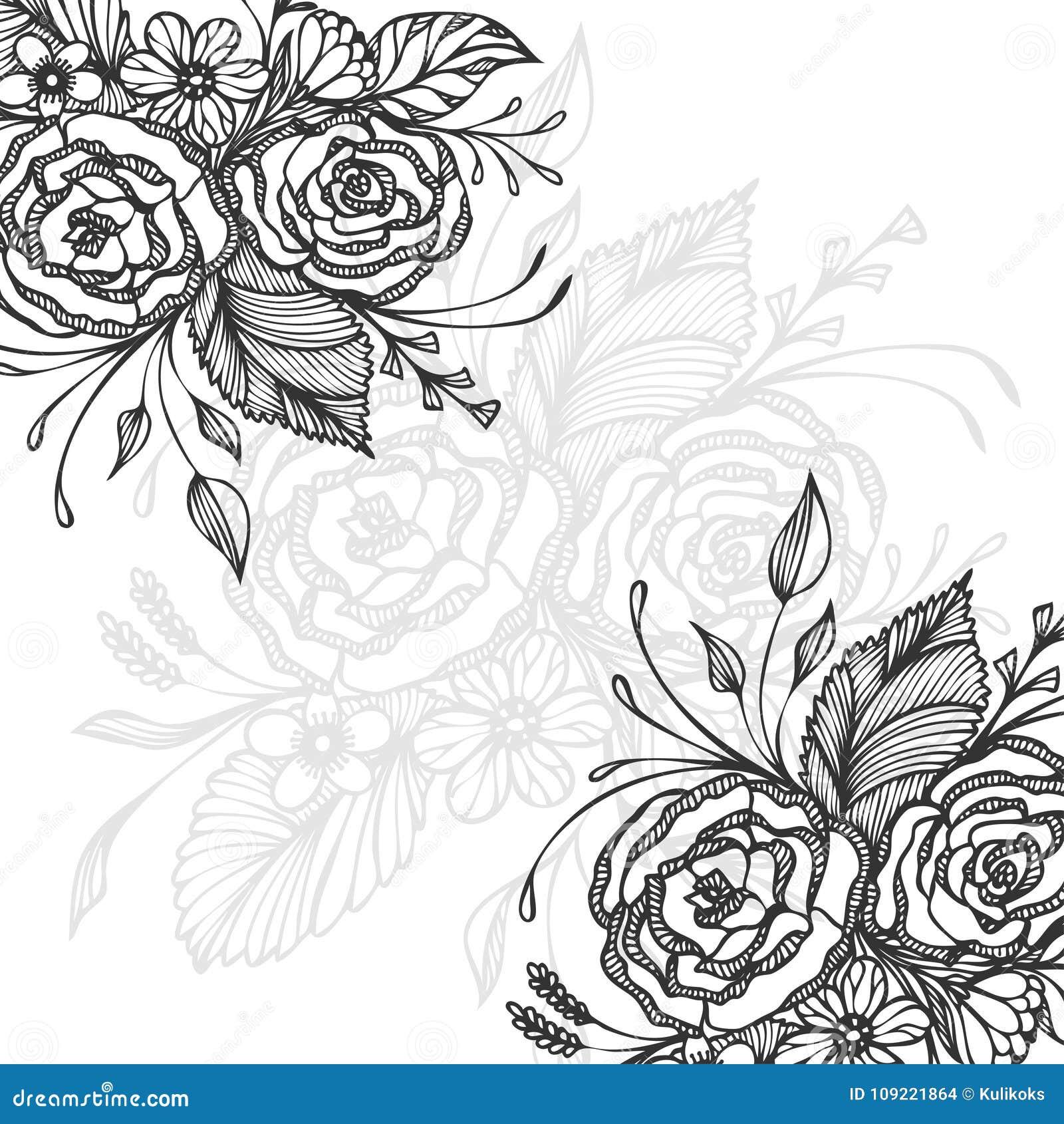 Fond tiré par la main avec le noir de bouquet de fleurs sur le blanc