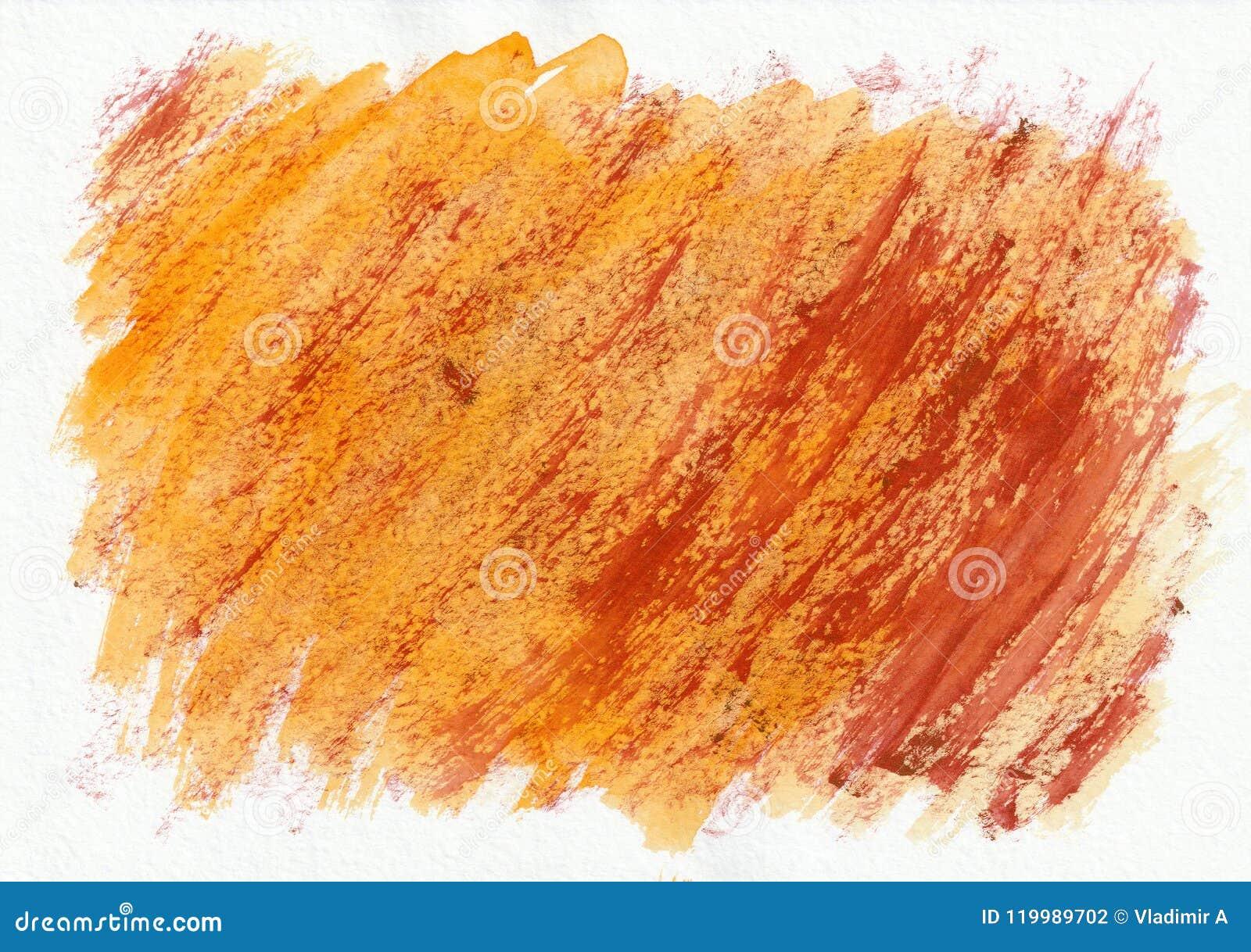Fond tiré par la main d aquarelle horizontale orange et rouge Belles courses dures diagonales du pinceau