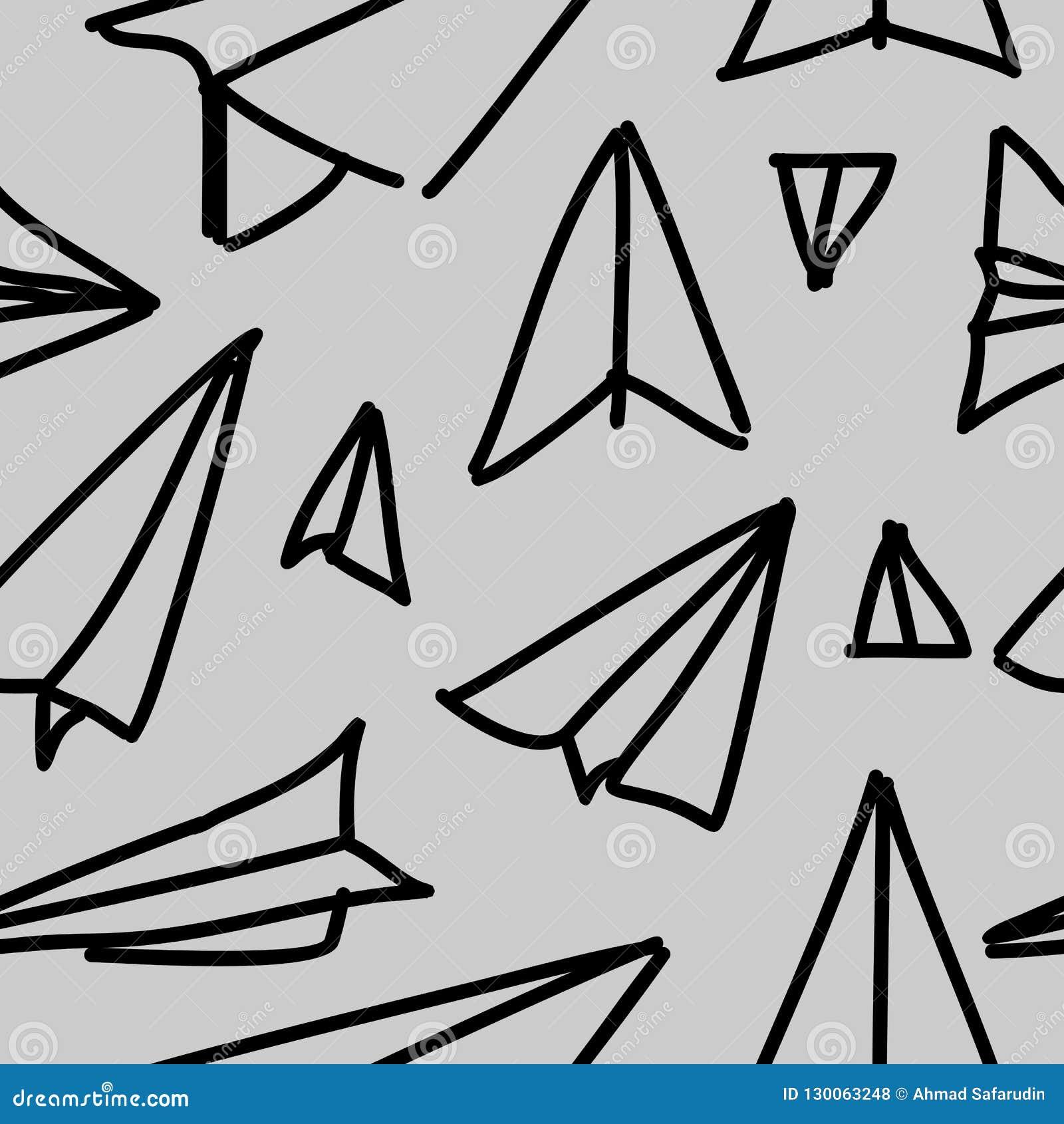 Fond tiré par la main de papier de modèle d avion sans couture Enfants élégants dessinant la forme répétée