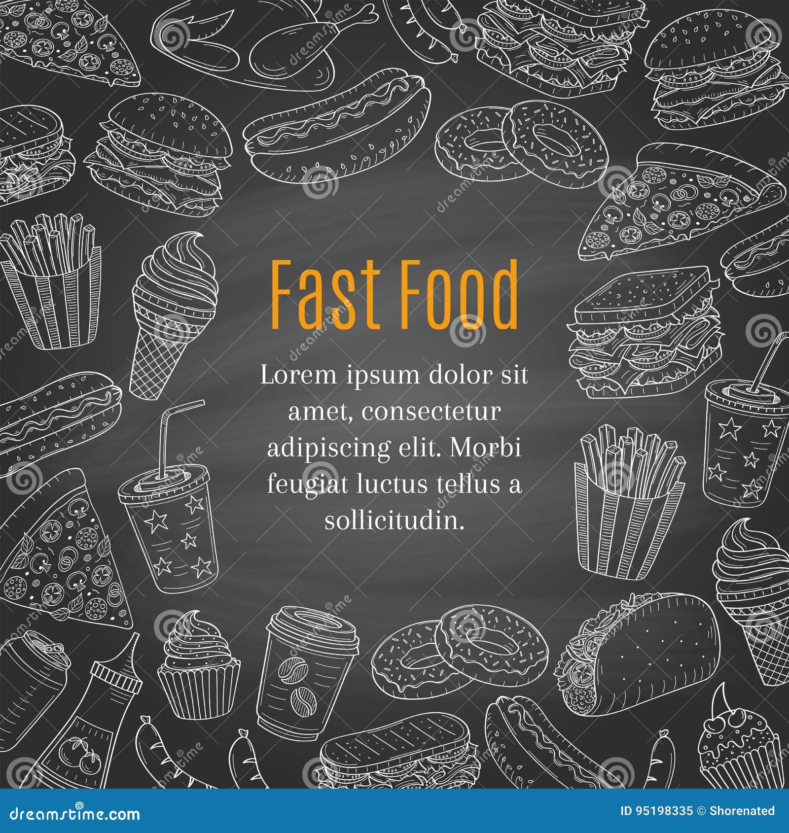 Fond tiré par la main de tableau de vecteur d aliments de préparation rapide