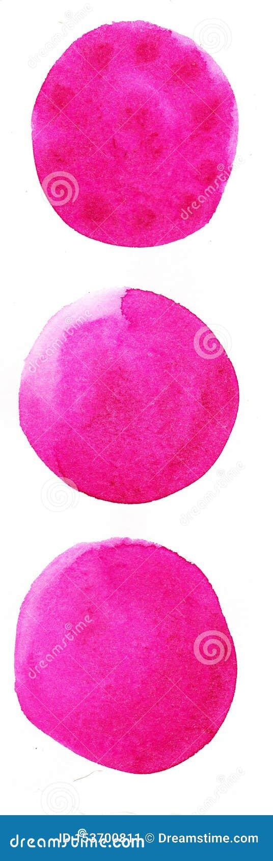 Fond tir? par la main d aquarelle Cercles joyeux de couleur de rose les beaux conçoivent l élément