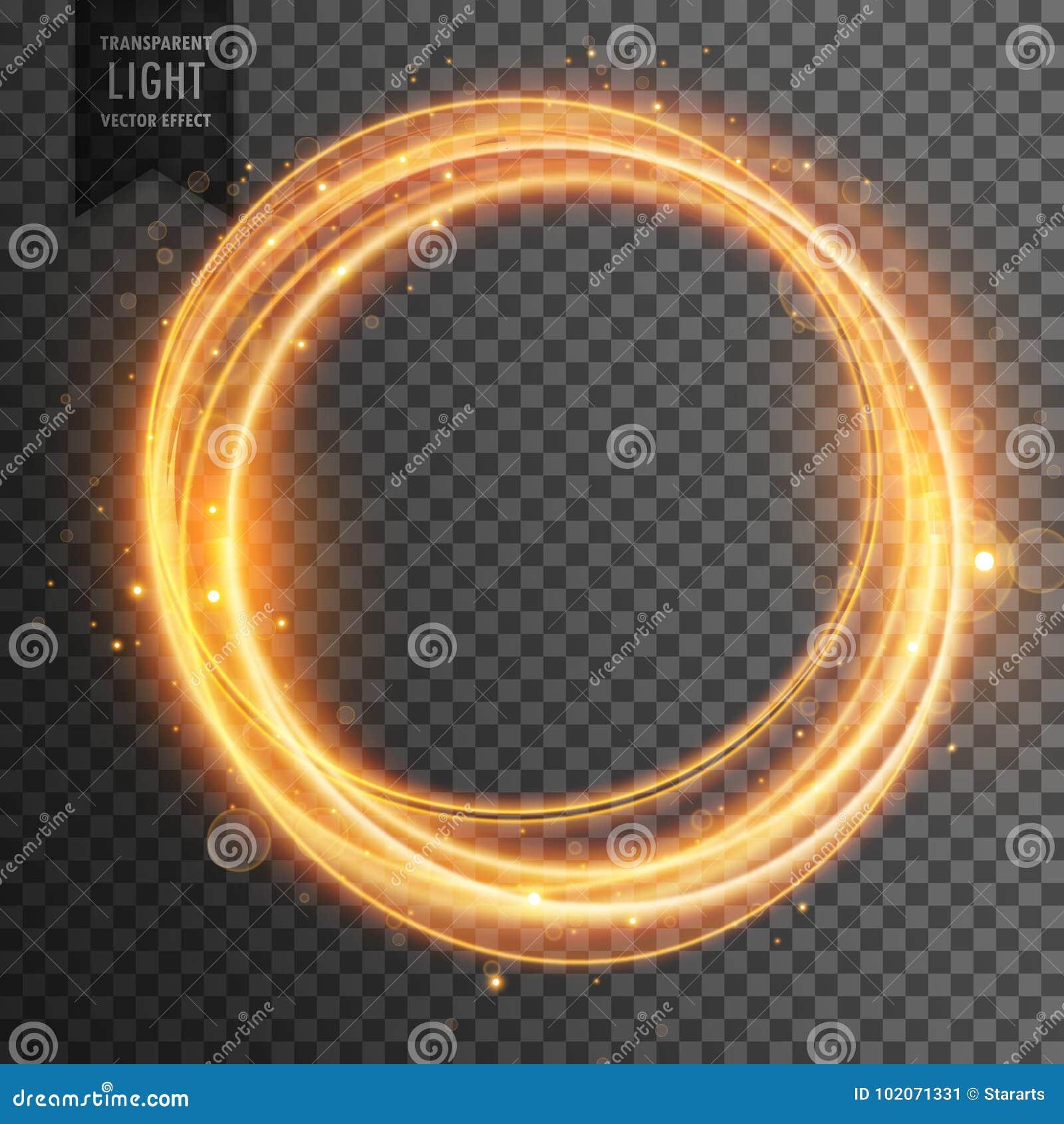 Fond transparent d or circulaire d effet de la lumière