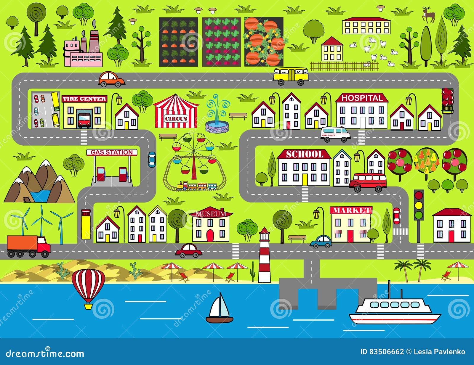 Fond urbain de dessin anim tapis de jeu de route pour le - Dessin de route ...
