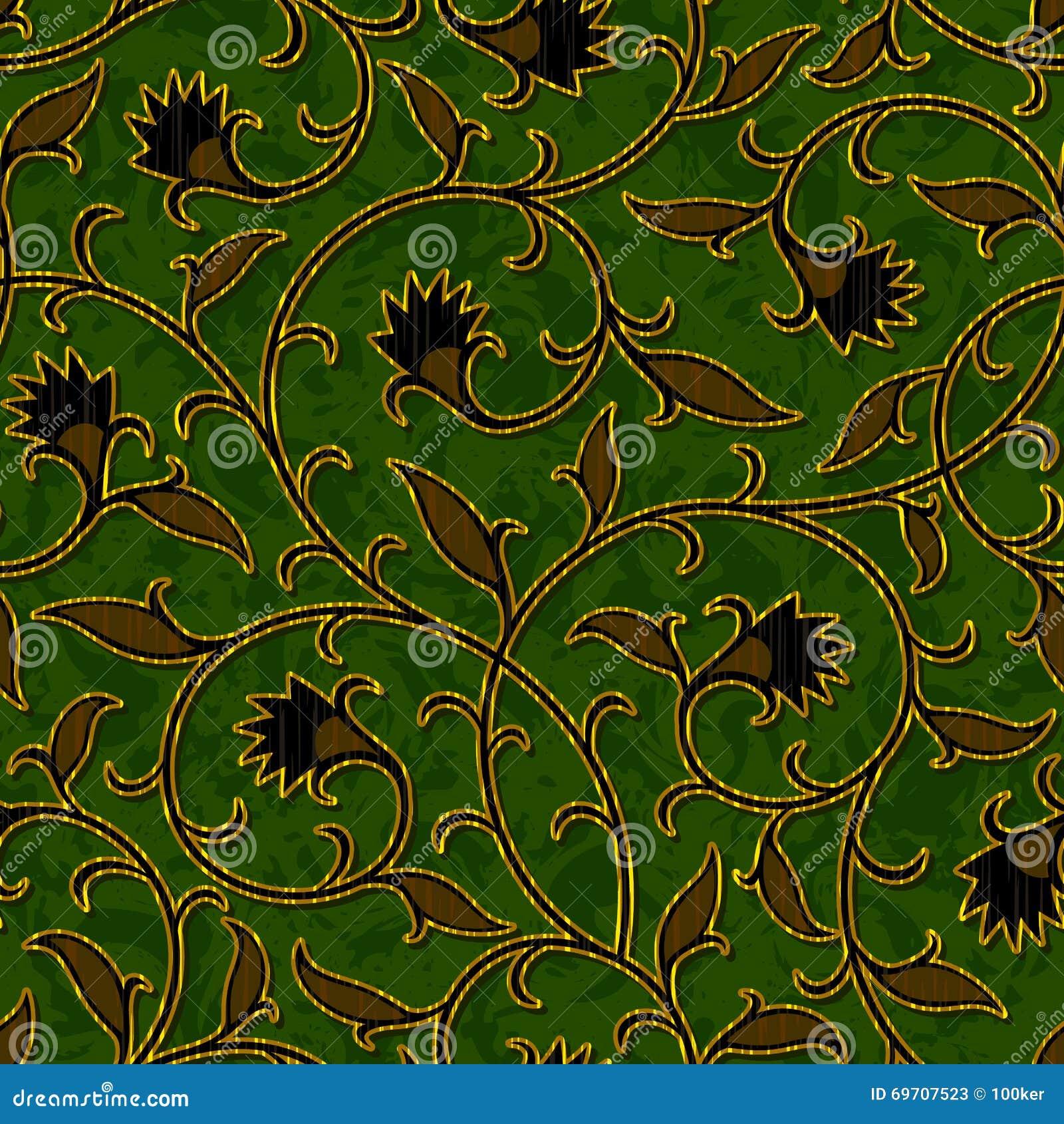 Fond vert-foncé floral sans couture de modèle de damassé