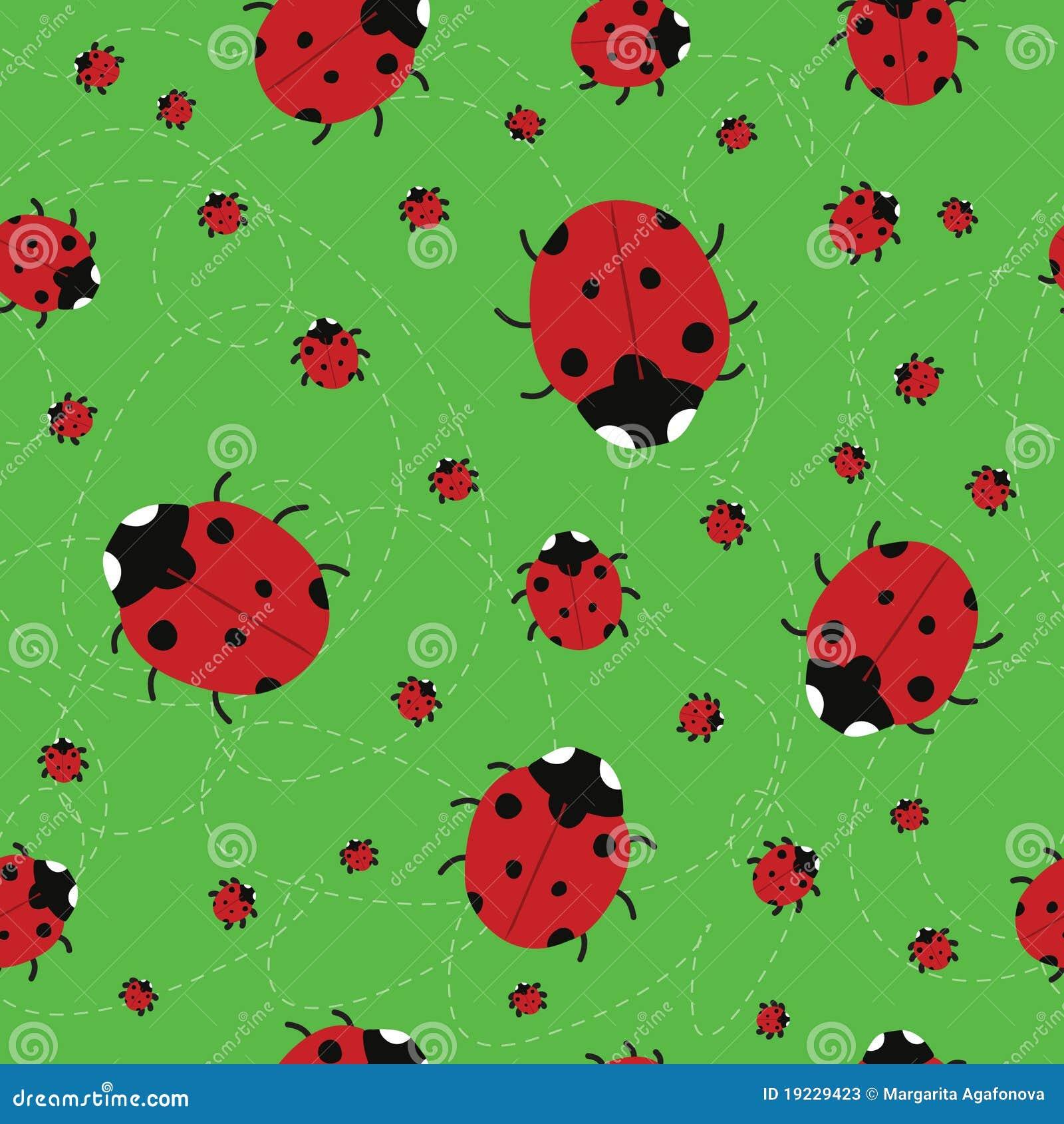 fond vert sans joint avec des coccinelles photos stock image 19229423. Black Bedroom Furniture Sets. Home Design Ideas