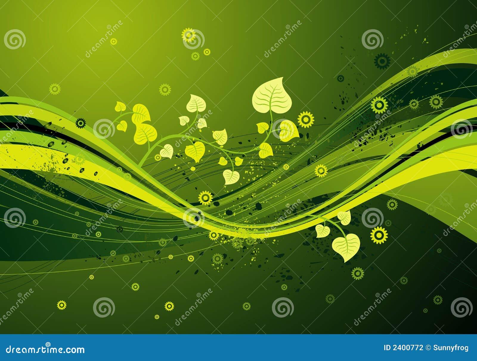 Fond vert moderne avec des ondes des lames et des fleurs