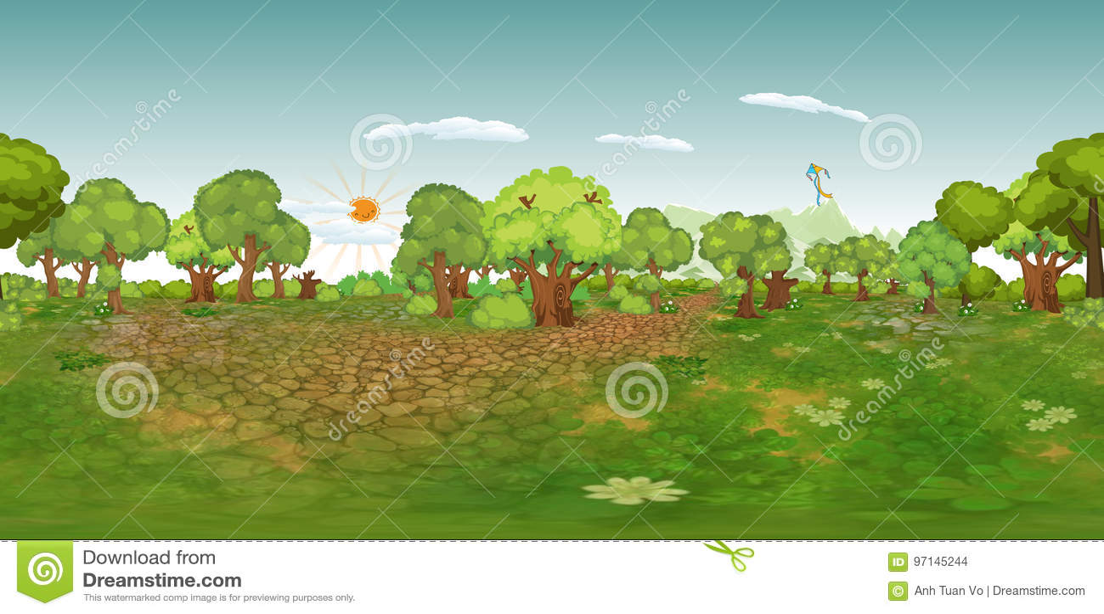 Fond virtuel de reaility de panorama de forêt dans le jour normal
