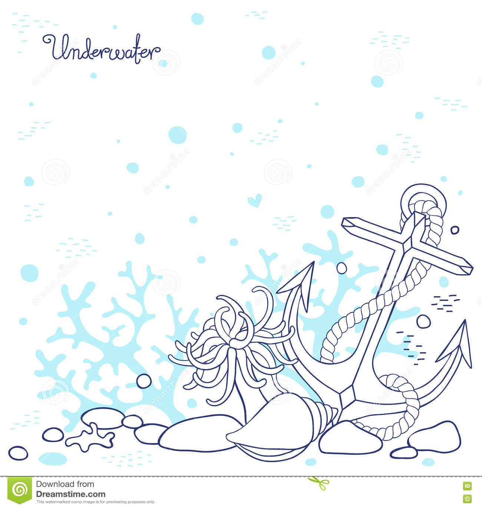 Fondale marino subacqueo del fondo illustrazione for Fondali marini da colorare