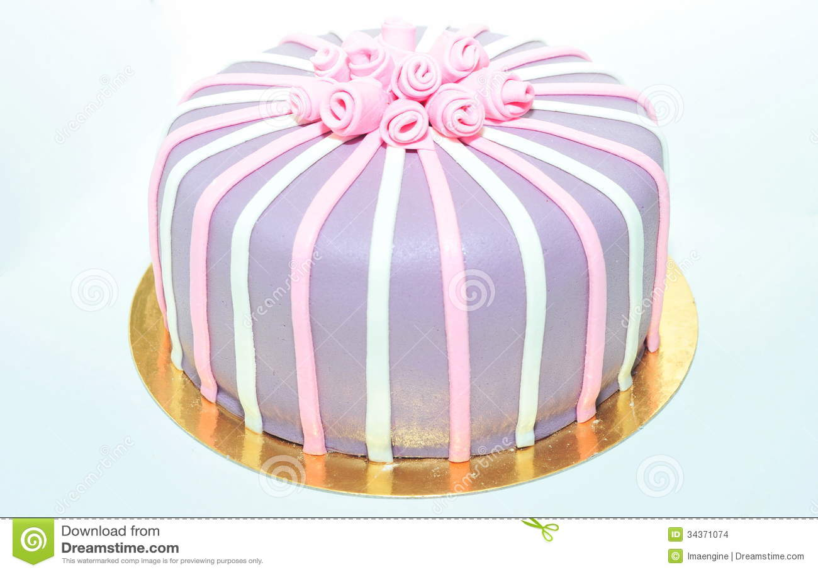 Fondant cake with roses on white
