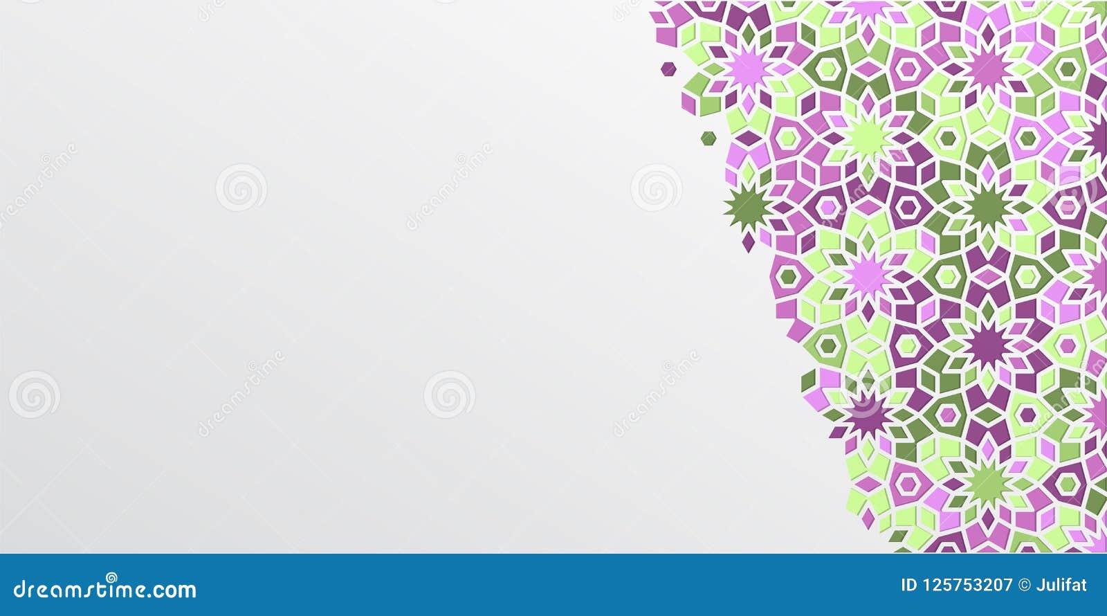 Fondo árabe del diseño del girih para Ramadan Kareem Detalle colorido ornamental islámico del mosaico Tarjeta del Ramadán del sal